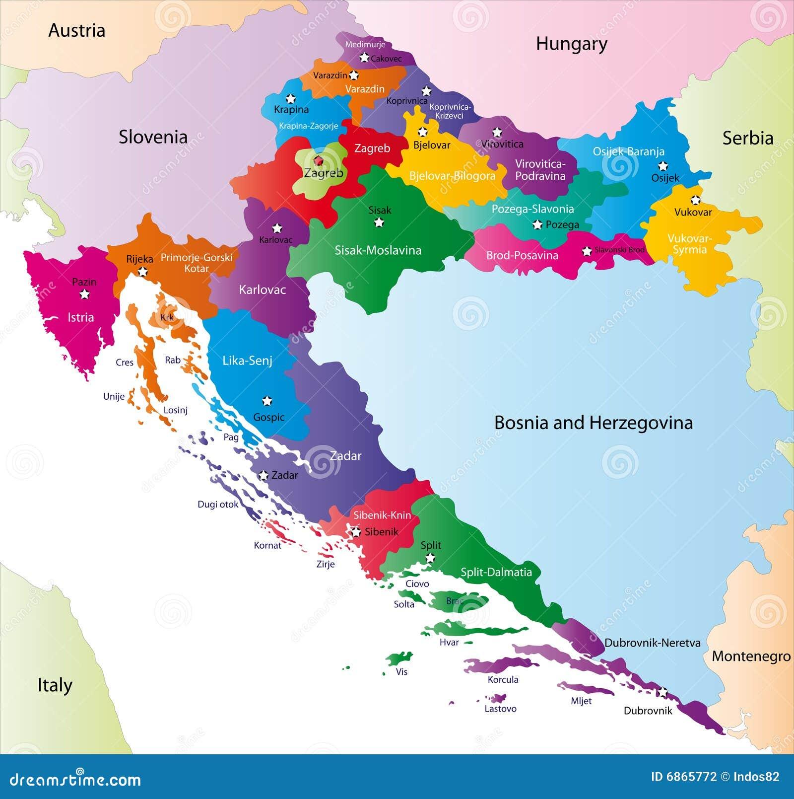 Kroatien Karte Vektor Abbildung Illustration Von Abschluss 6865772