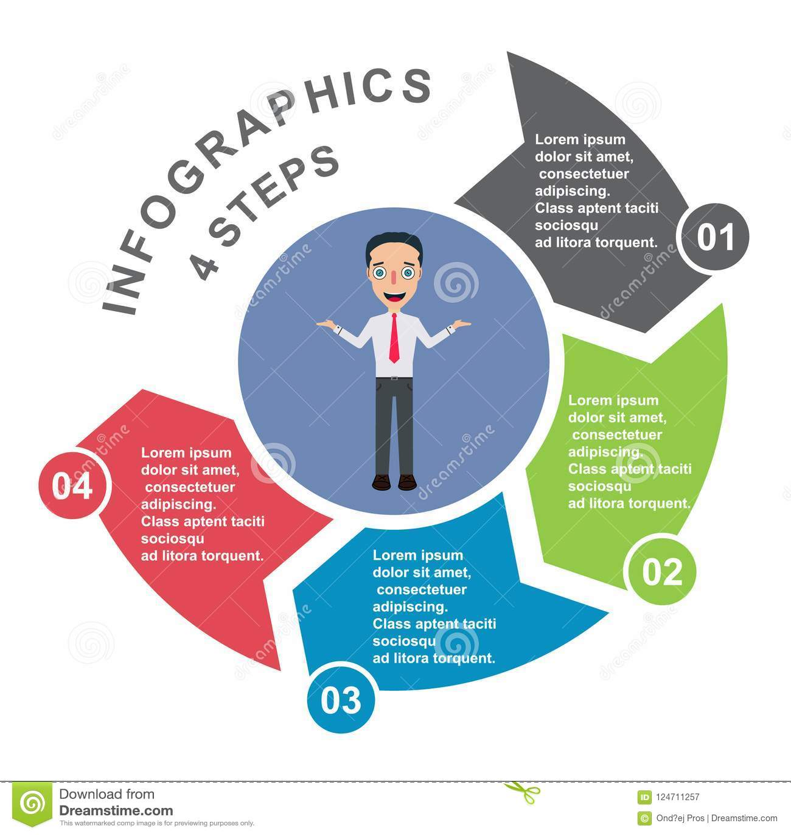 4 kroków wektorowy element w cztery kolorach z etykietkami, infographic diagram Biznesowy pojęcie 4 opci z biznesmenem lub kroki