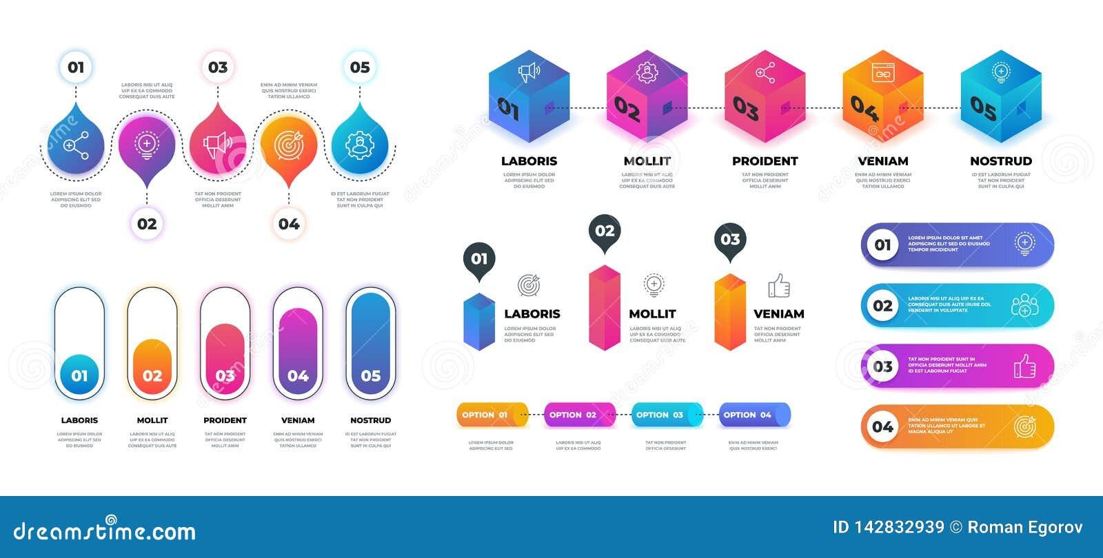 Krok 3D infographic Realistyczny flowchart wykres, biznesowy opcji prezentacji szablon Wektorowa obieg okręgu grafika