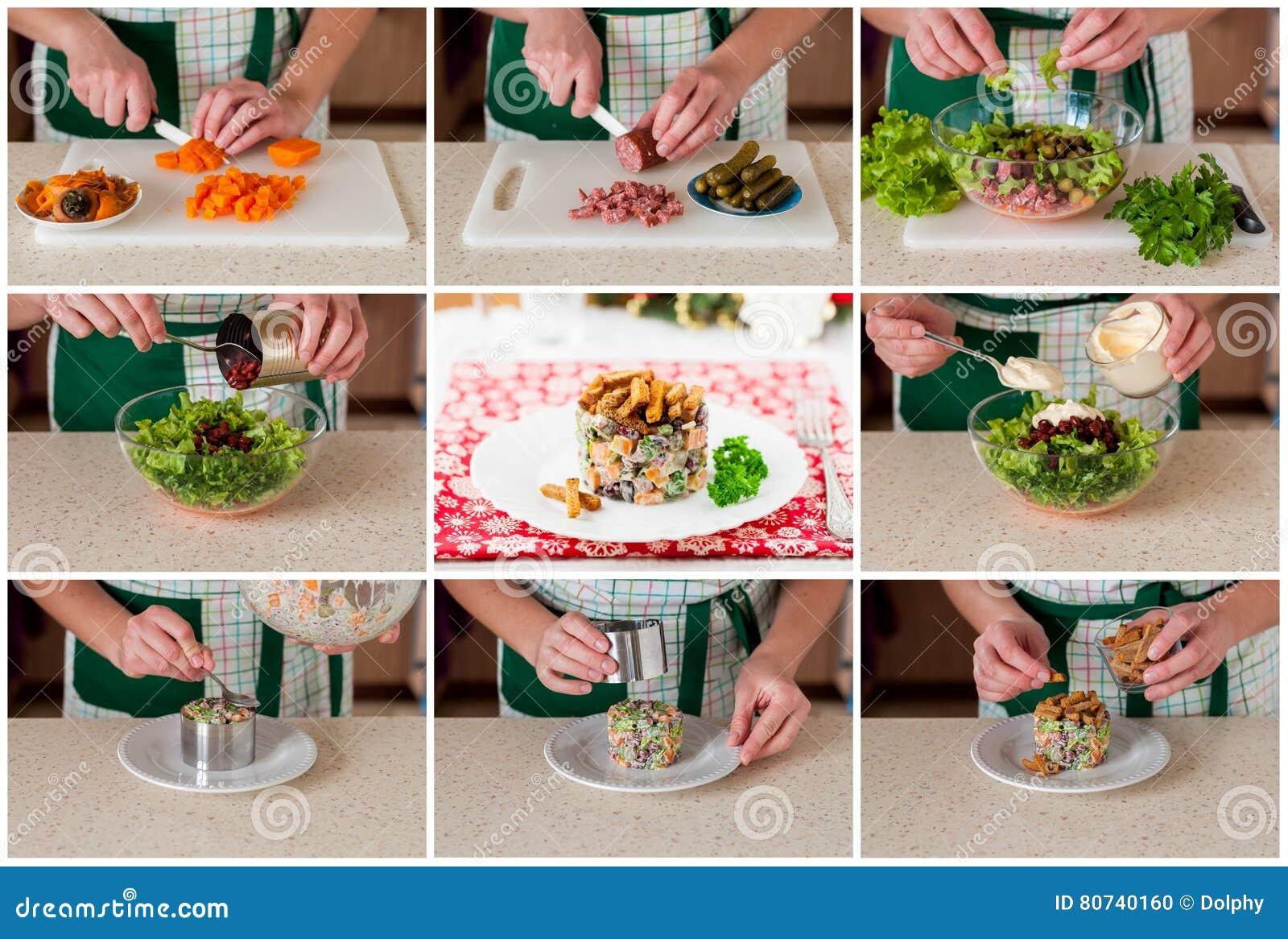 Krok po kroku kolaż robić Niemieckiej Bożenarodzeniowej sałatki