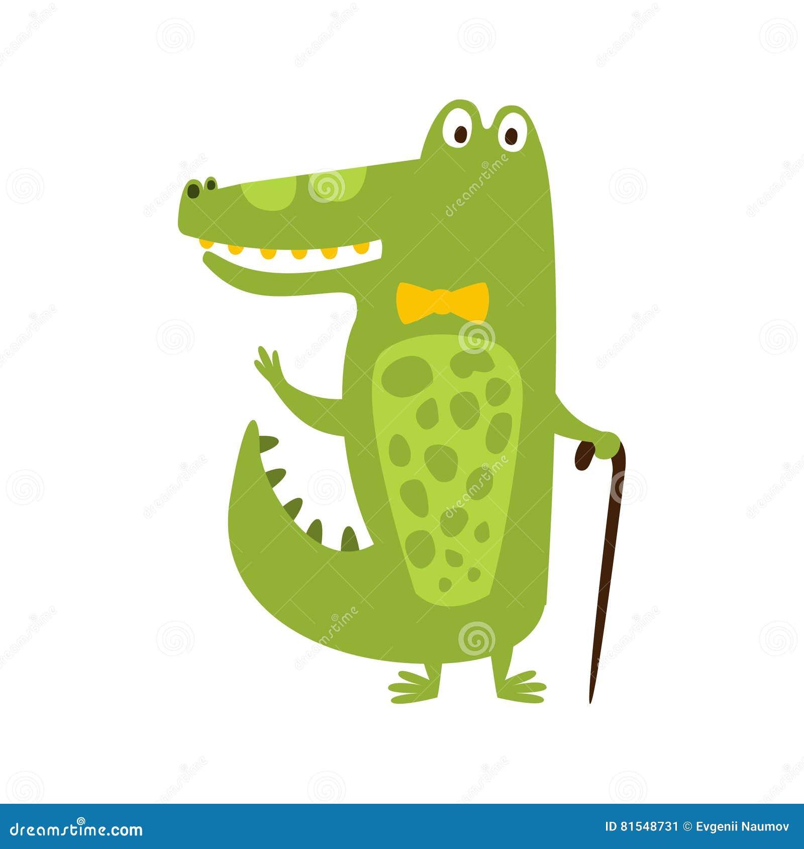 Krokodil med teckningen för tecken för fluga- och Cane Flat Cartoon Green Friendly reptil den djura