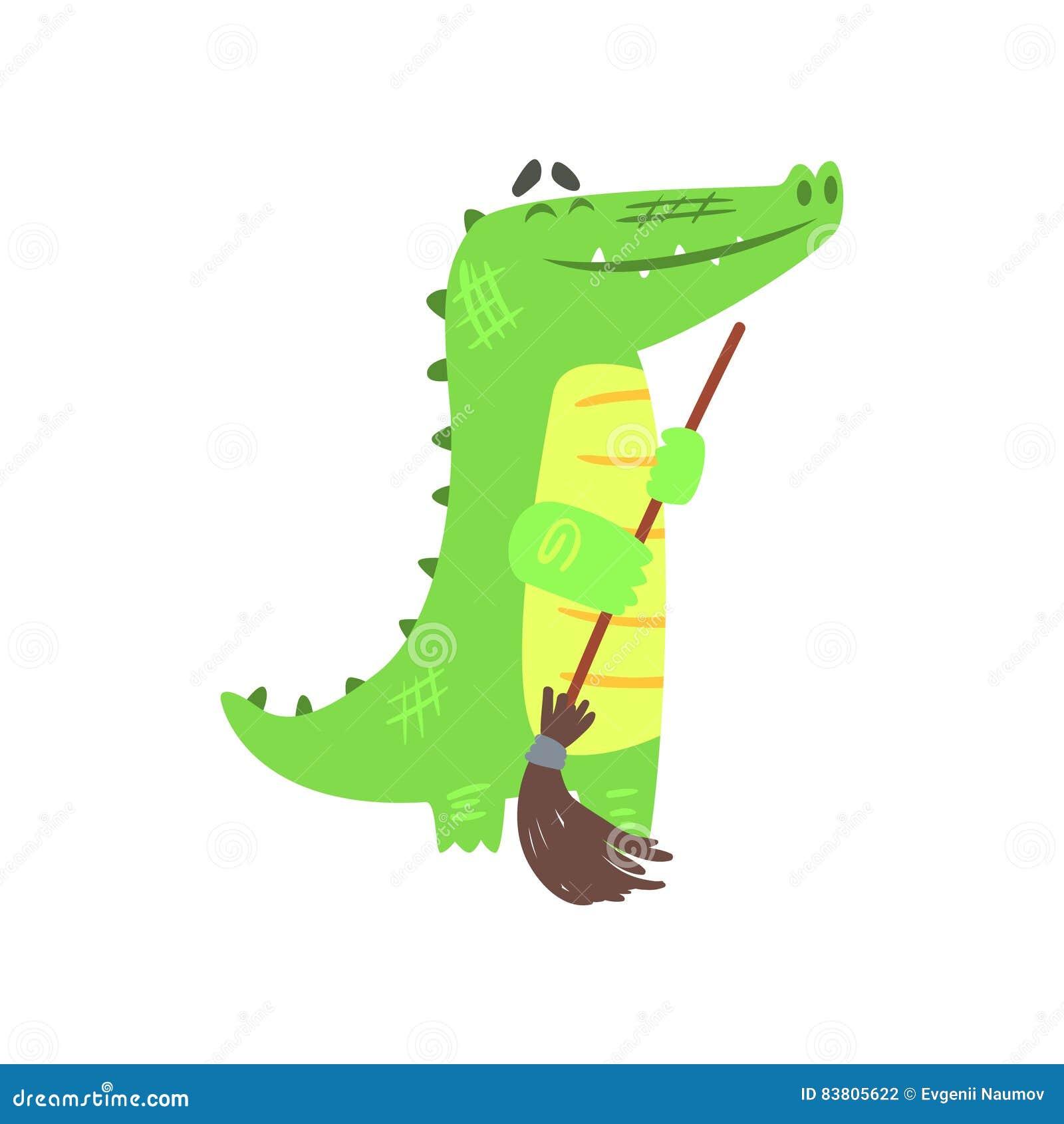Krokodil Vegende Vloer met Bezem, Vermenselijkt Groen Reptiel Dierlijk Karakter Elke Dagactiviteit