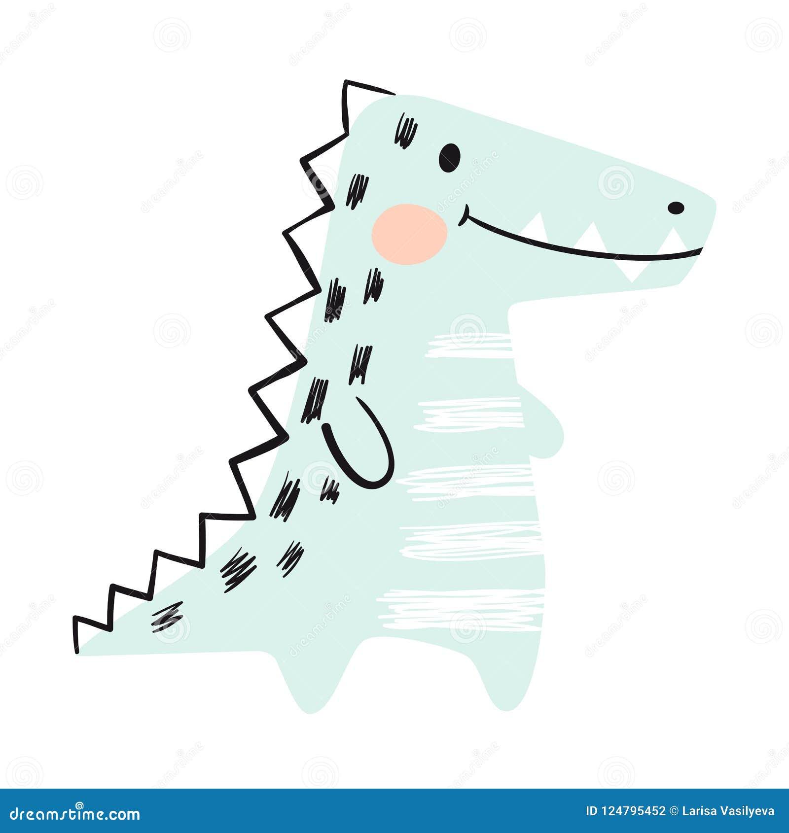 Krokodilen behandla som ett barn den gulliga tryckuppsättningen dinosaur Kallt afrikanskt djur