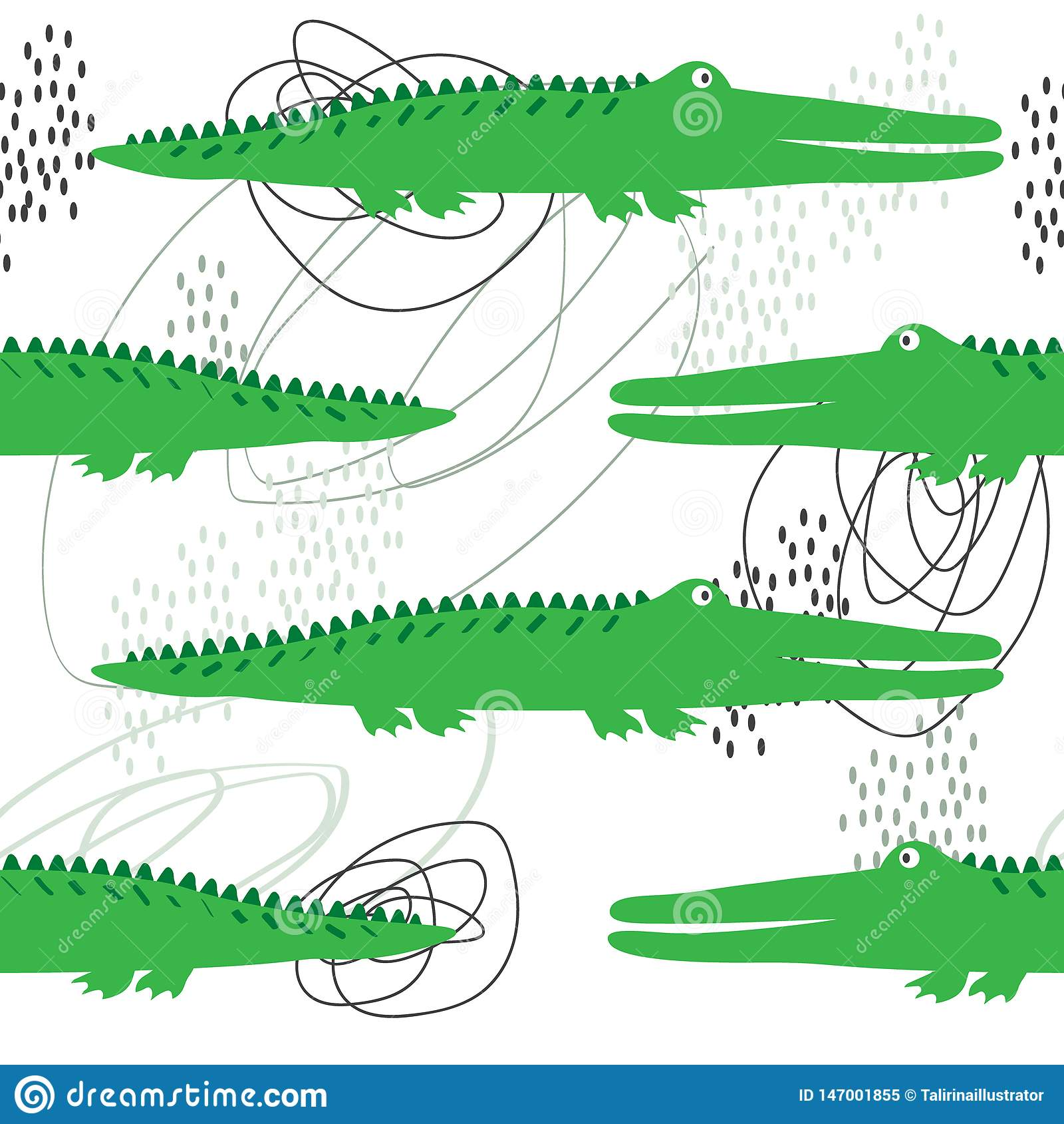 Krokodillen, olorful naadloos patroon Ñ  Decoratieve leuke achtergrond met reptielen
