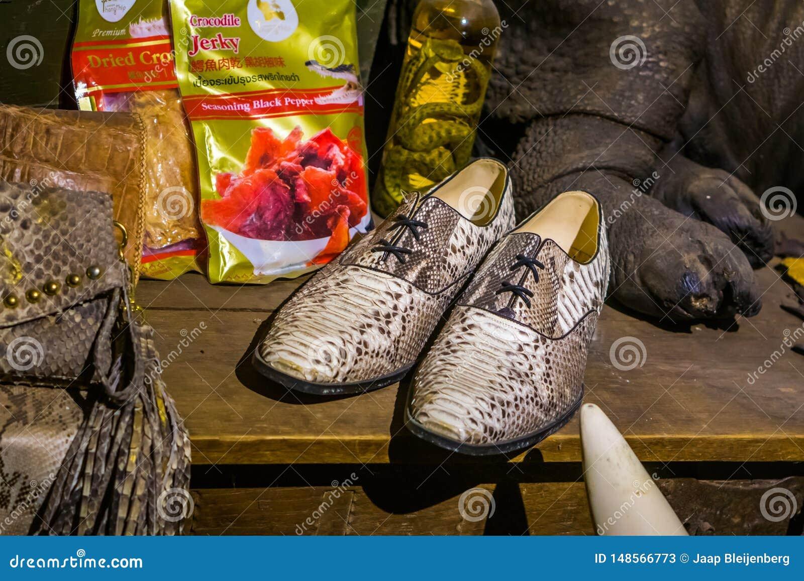 Krokodilproducten in een het winkelen venster, jagende en dodende dieren voor luxeproducten, Kwadendamme, Nederland, 19 Maart,