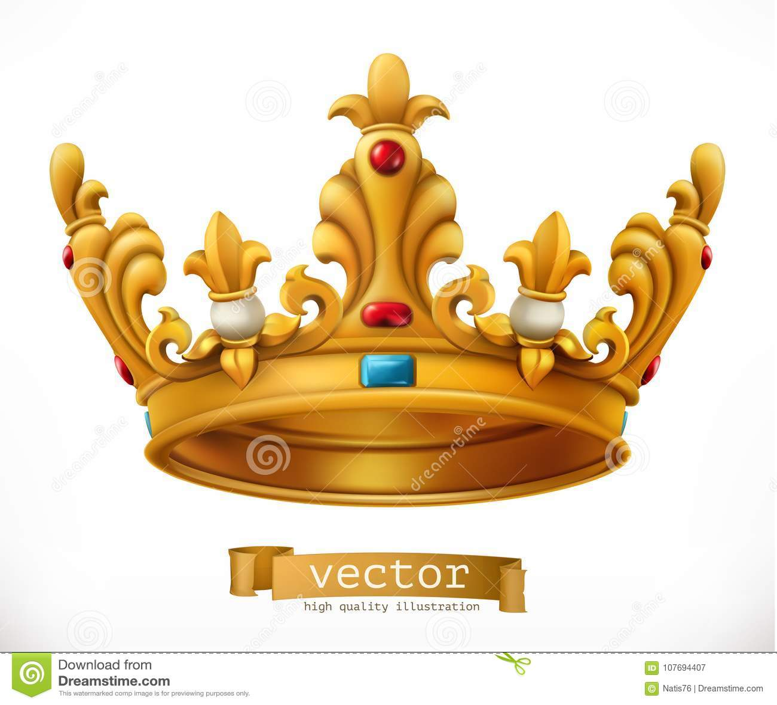 Kronaguld pryder med pärlor röda rubies konung gears symbolen