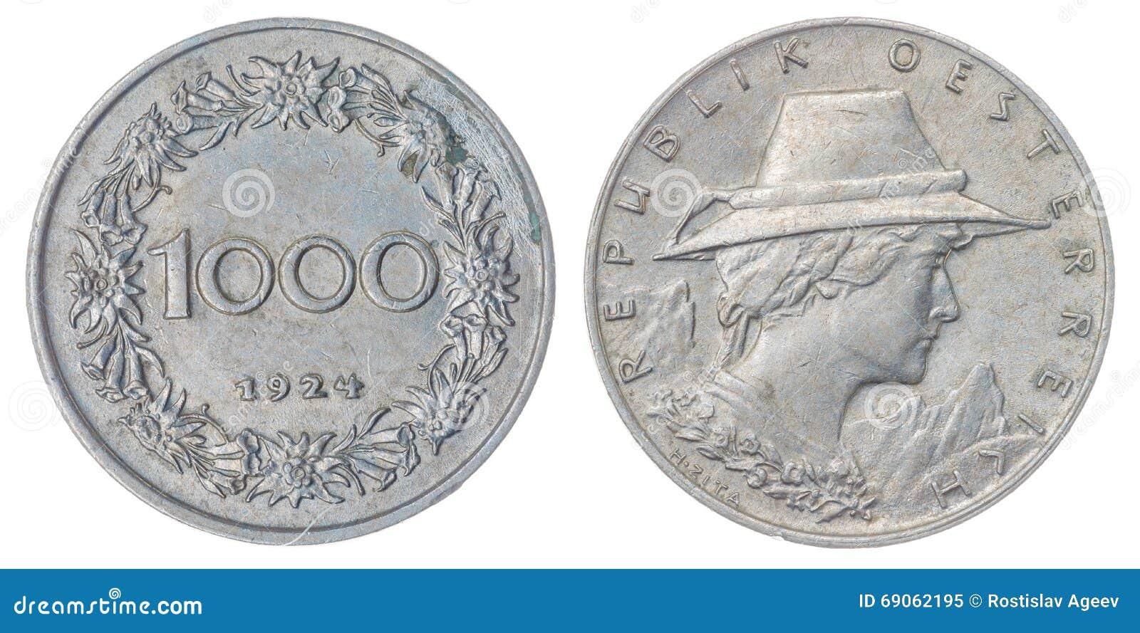 1000 Kronen Mynt Som 1924 Isoleras På Vit Bakgrund österrike