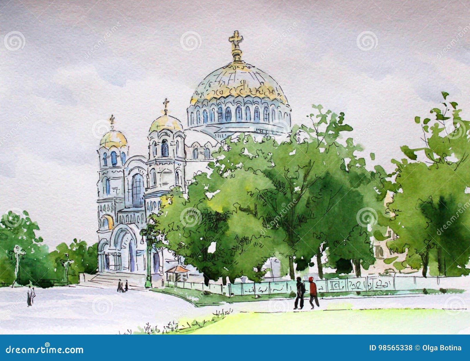 Kronstadt akwareli Nikolsky Morska katedra