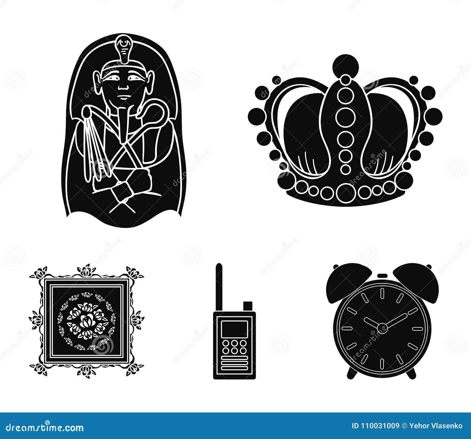 Kroon, sarcofaag van de farao, walkie-talkie, beeld in het kader Pictogrammen van de museum de vastgestelde inzameling in zwarte