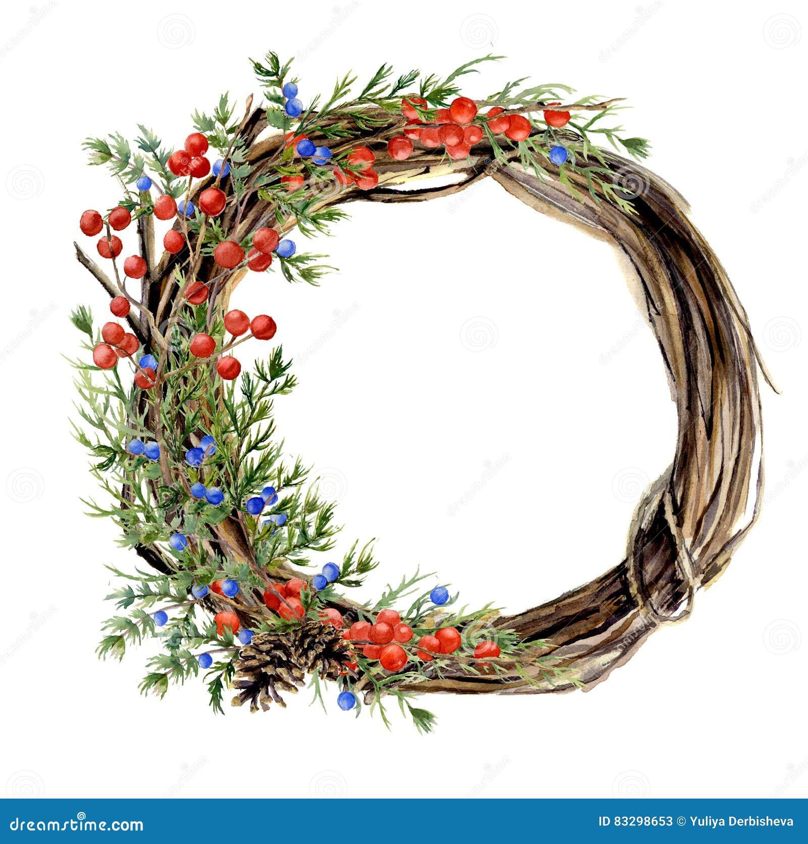 Kroon van de waterverf de hand geschilderde winter van takje Houten kroon met rode en blauwe de winterbessen en jeneverbes naught
