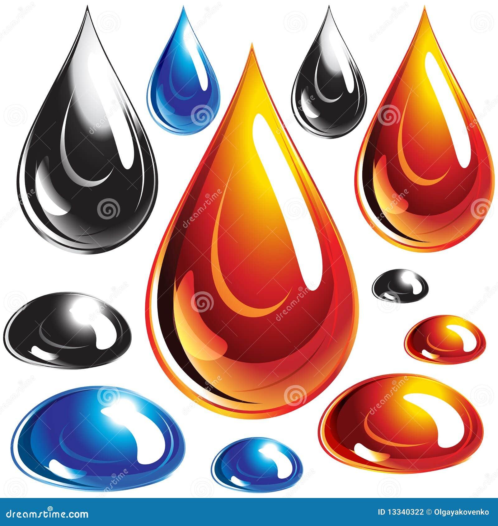 Krople oliwią set wodę