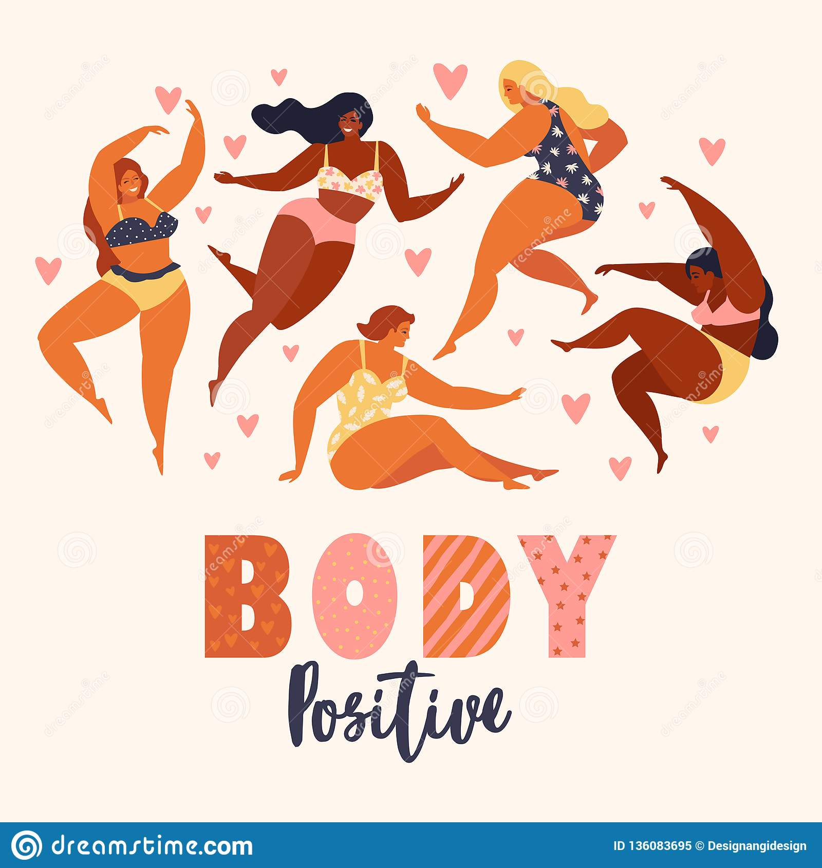 Kropprealitet Älska ditt förkroppsligar Lyckligt plus formatflickor och aktiv sund livsstil också vektor för coreldrawillustratio