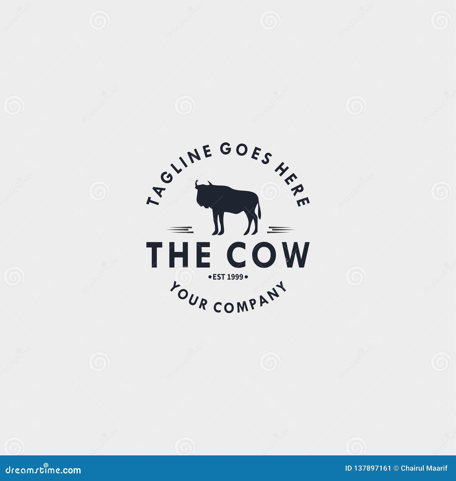 Krowa rocznika logo projekta szablon Projektuje elementy dla loga, etykietka, emblemat, znak wektorowa ilustracja - wektor
