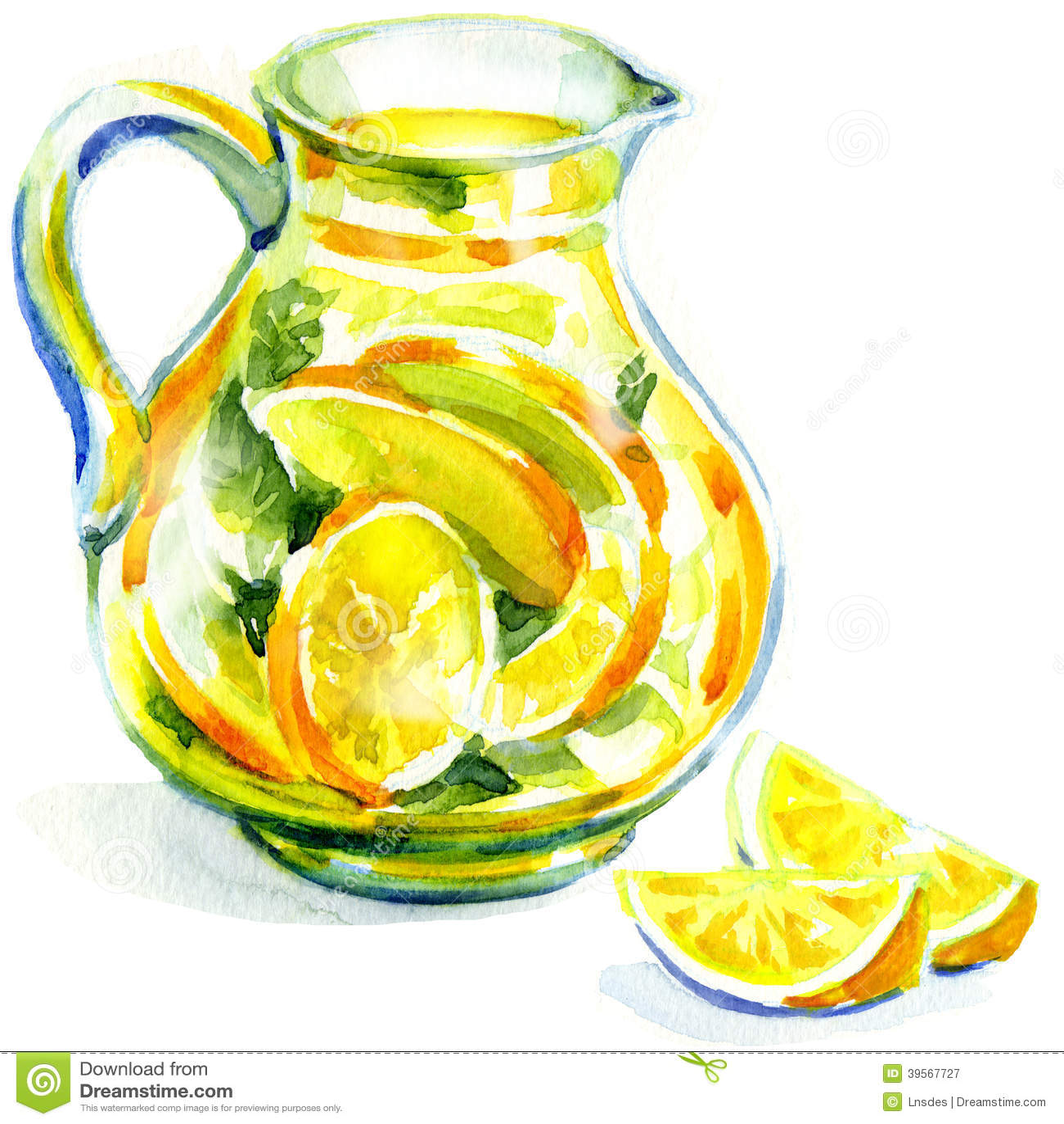 Krug Limonade mit Minze. Aquarellmalerei