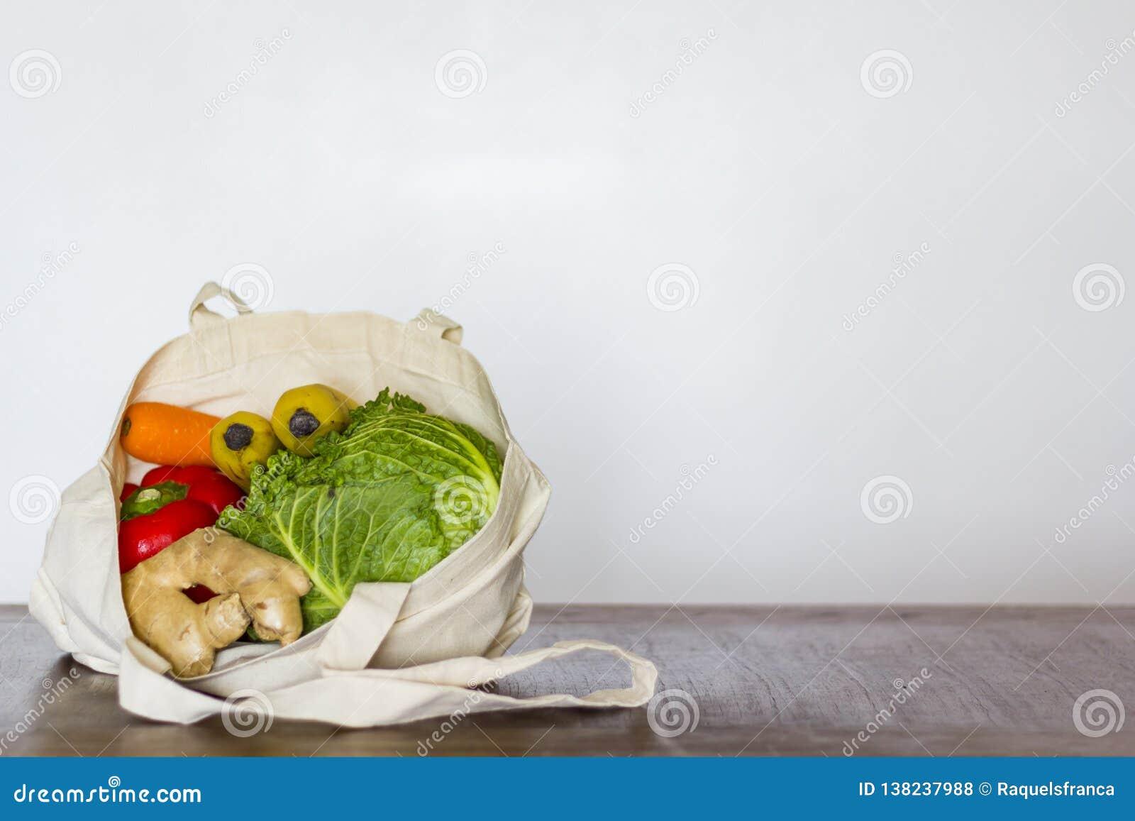 Kruidenierswinkels in opnieuw te gebruiken zak Nul Afval, Plastic vrij concept