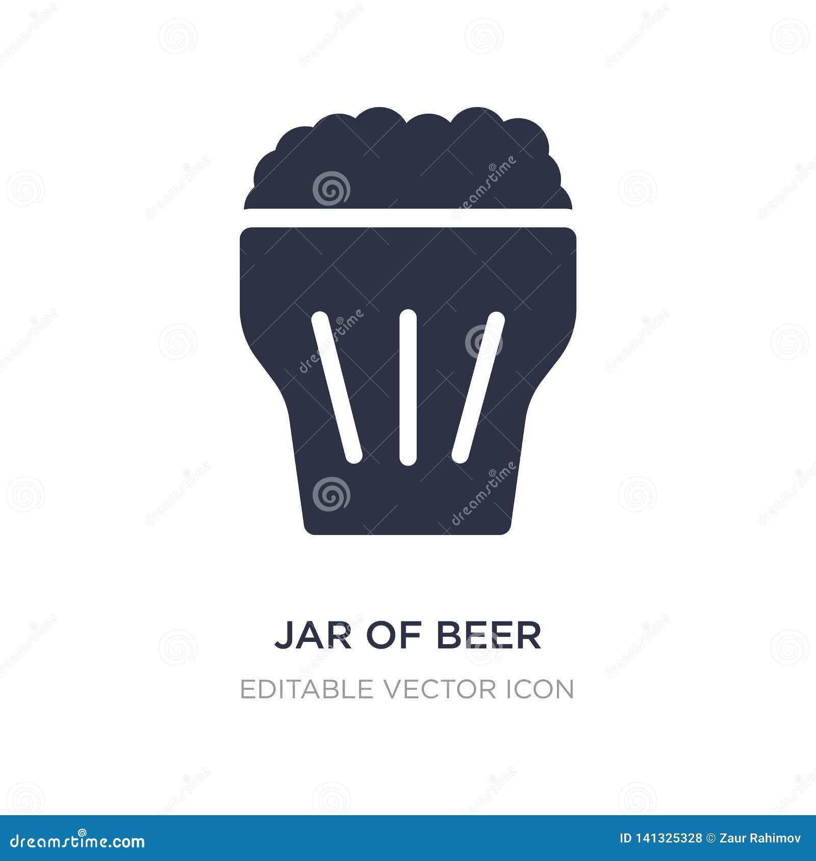 Kruik van bierpictogram op witte achtergrond Eenvoudige elementenillustratie van Voedselconcept