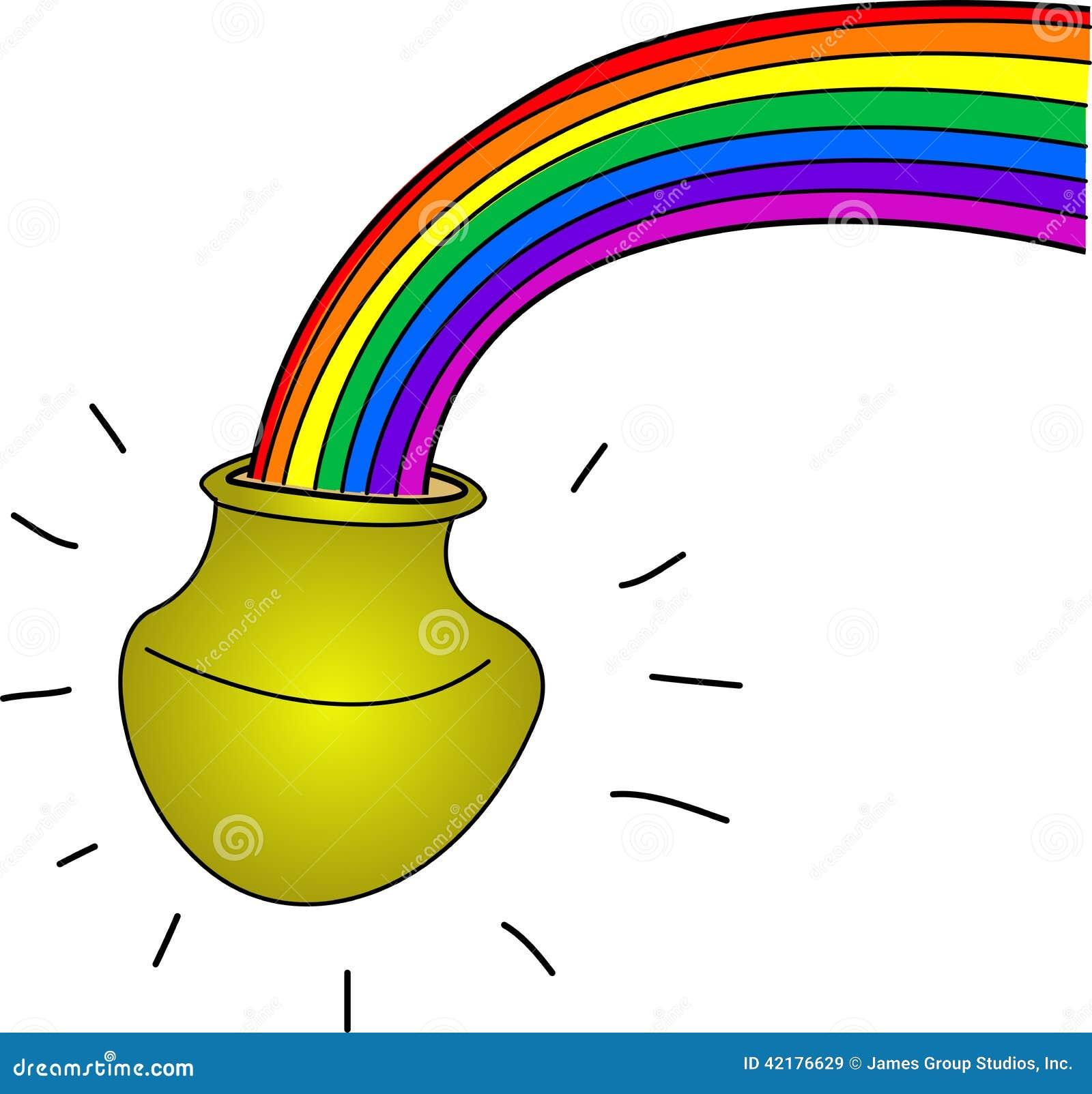 Kruka av guld med regnbågen