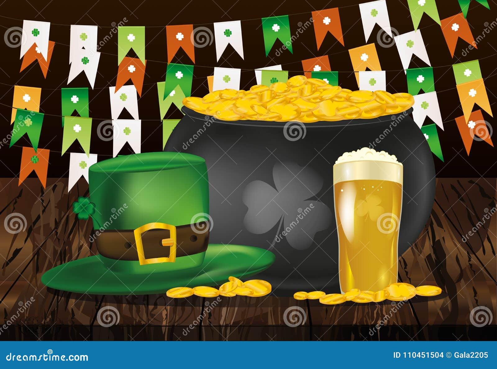 Kruka av guld- mynt mot bakgrunden av gröna flaggor Hatt och