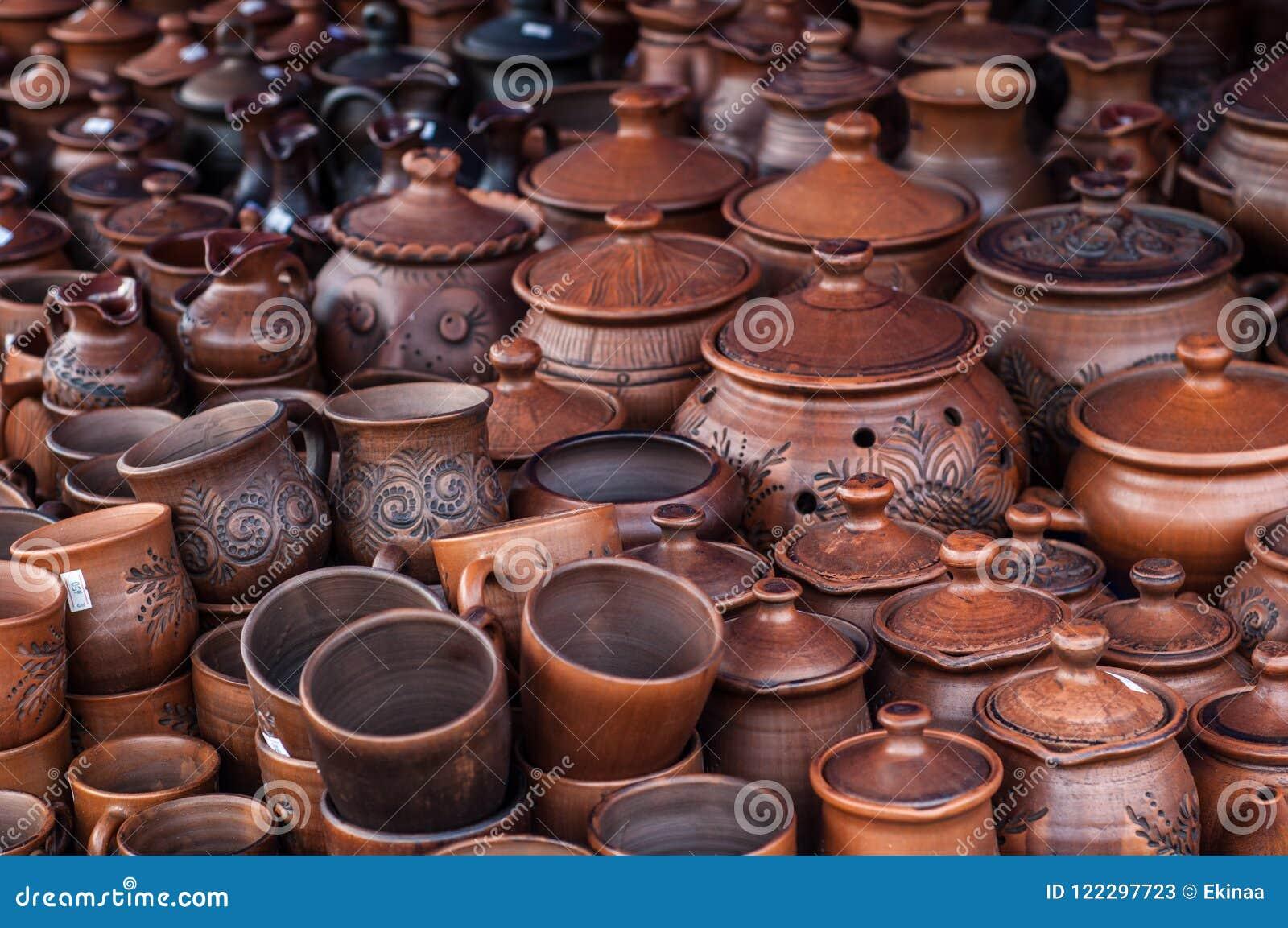 Krukmakeri lergods, clayware, lerkärl, stengods