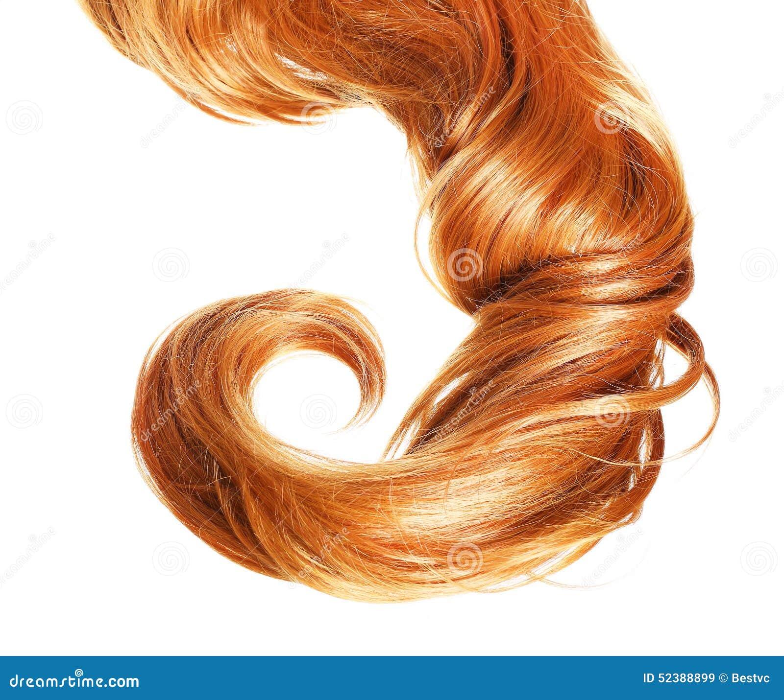 Krul Rood die Haar op witte achtergrond wordt geïsoleerd