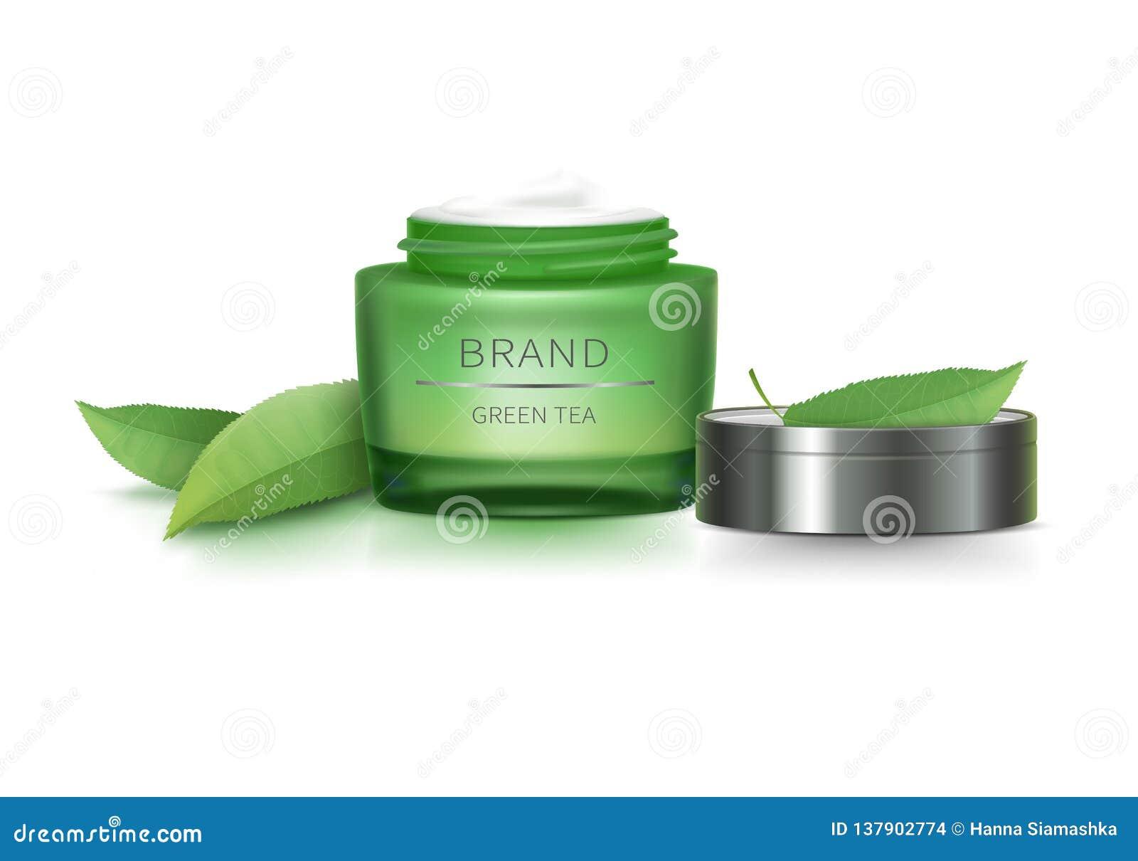Krus för grönt exponeringsglas med det öppna locket