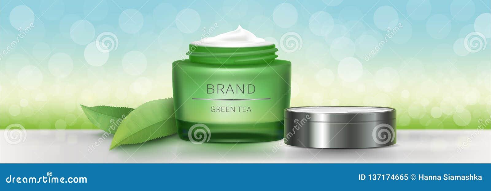 Krus för grönt exponeringsglas med naturlig kräm
