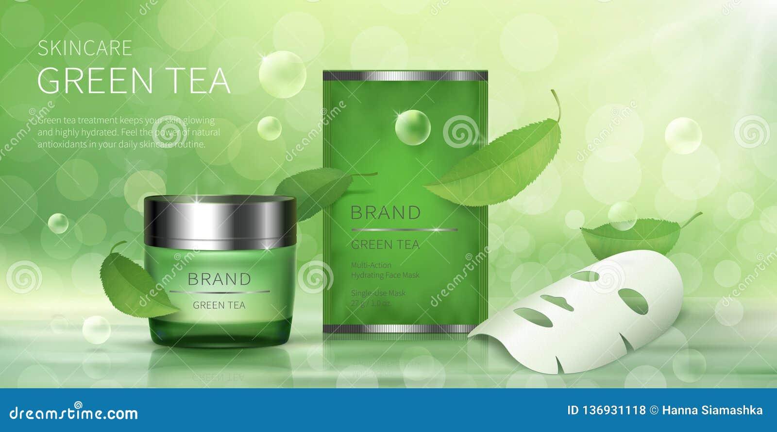 Krus för grönt exponeringsglas och ansikts- arkmaskering