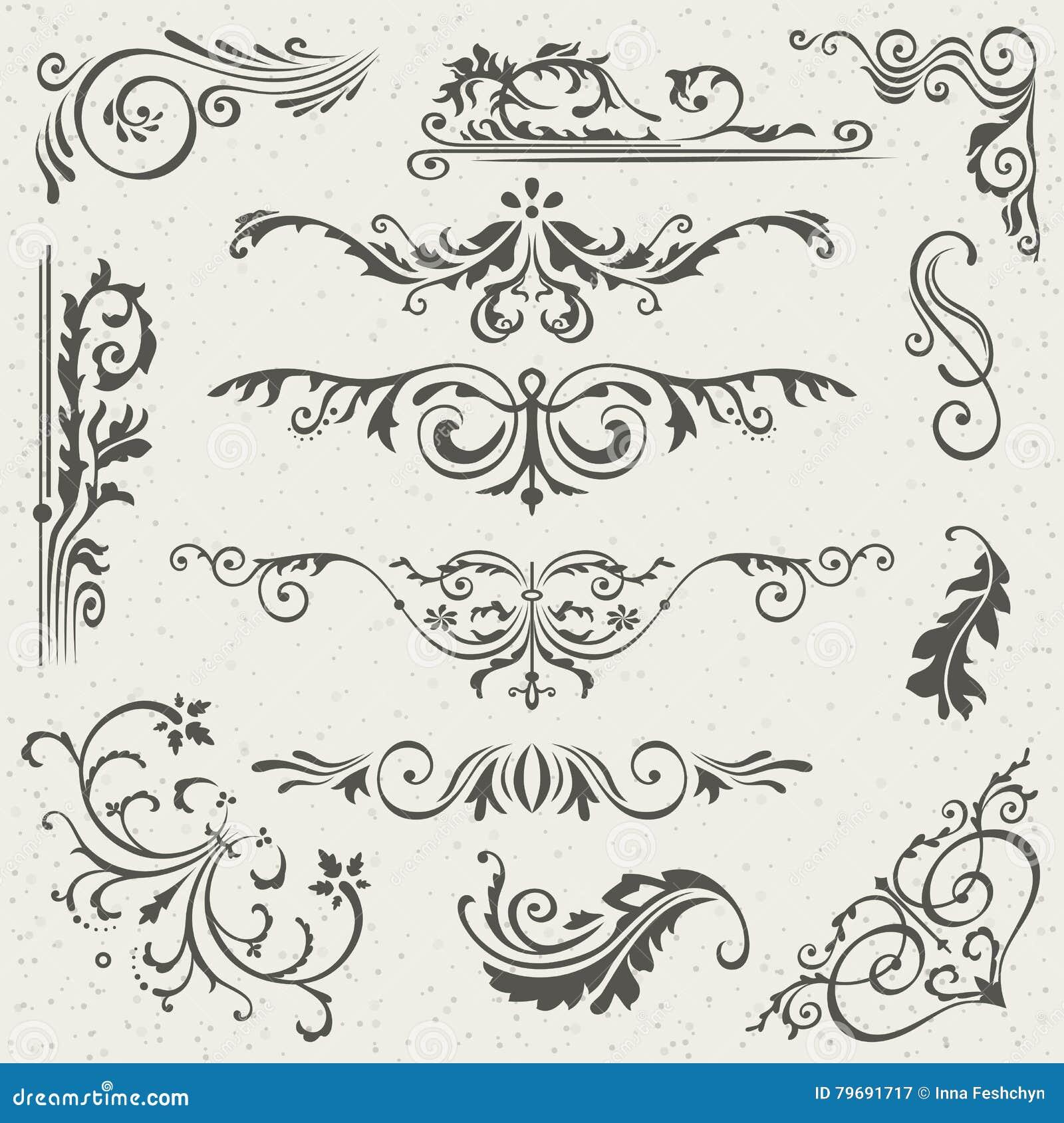 Krusidullgränshörn och rambeståndsdelsamling Vektorkortinbjudan Calligraphic viktoriansk Grunge bröllop