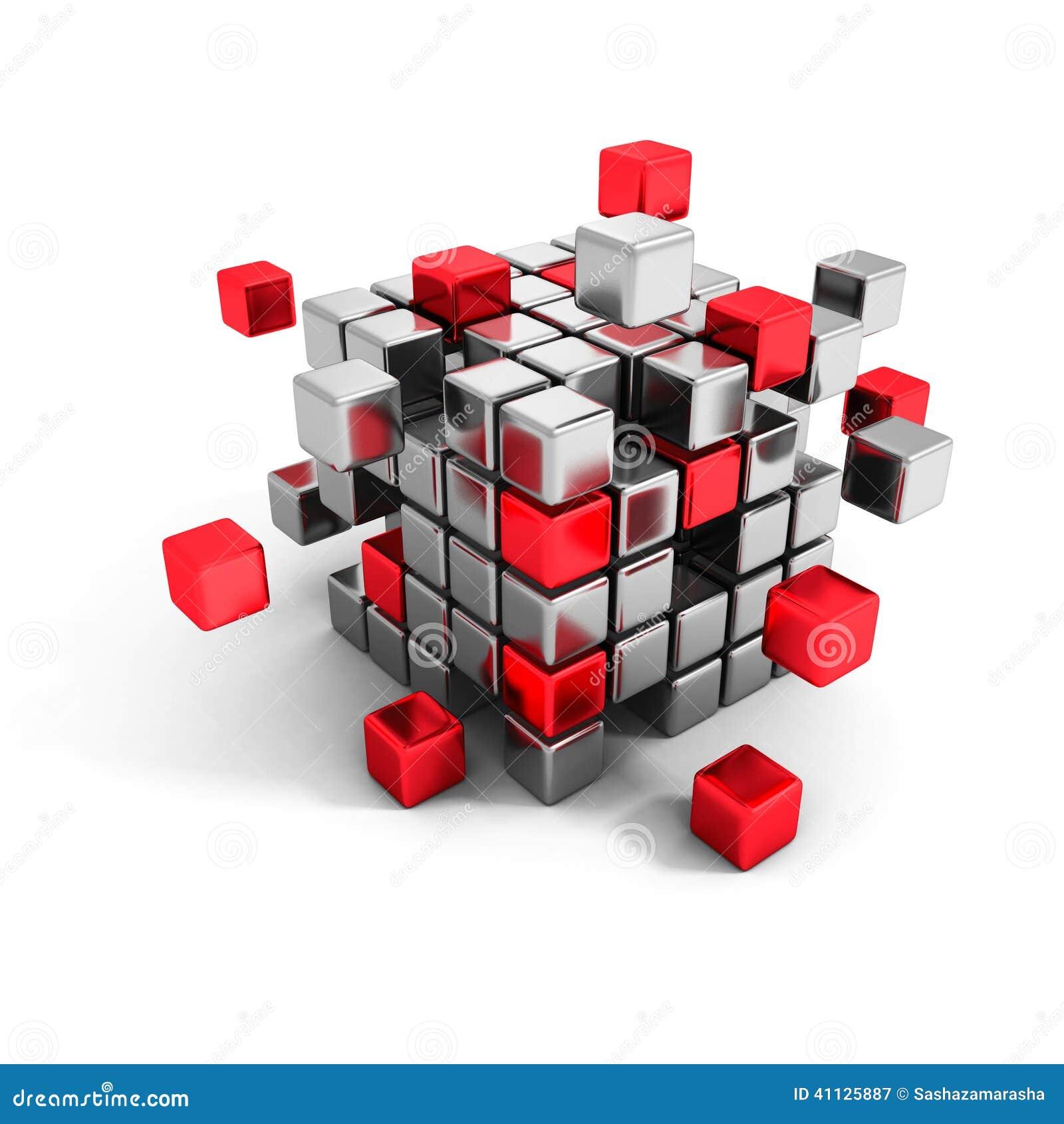 Kruszcowa i czerwona sześcianów bloków struktura Biznesowa praca zespołowa