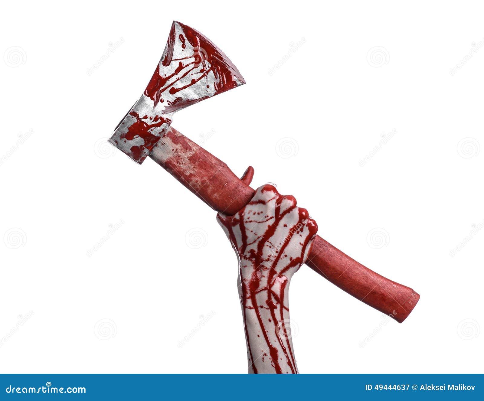 Krwisty Halloweenowy temat: krwista ręka trzyma masarki krwistego ax odizolowywający na białym tle w studiu
