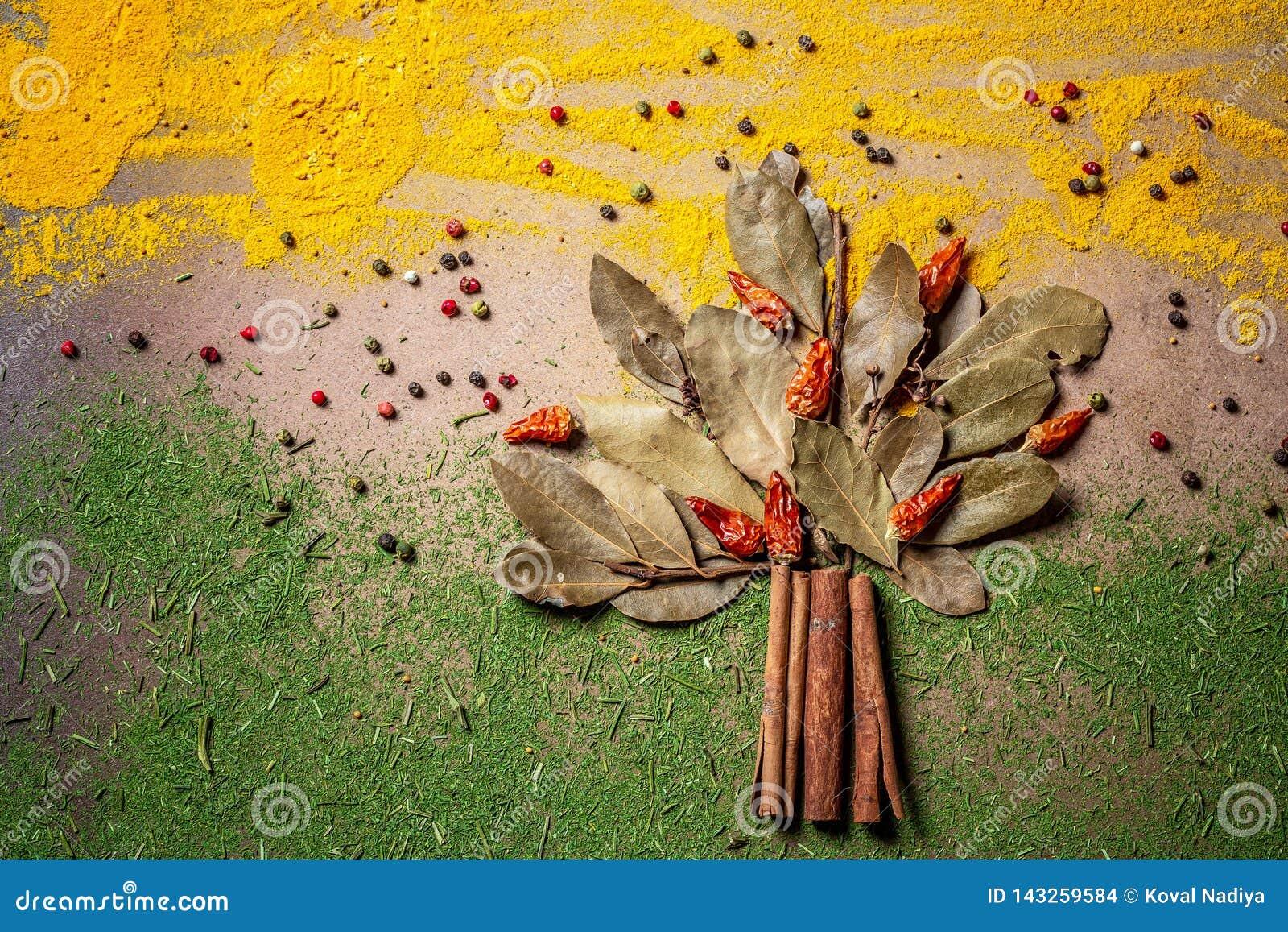 Kryddor och örter för websitetitelrader Smaktillsats spridd på tabellen i form av ett träd, bakgrund för inpackning med mat
