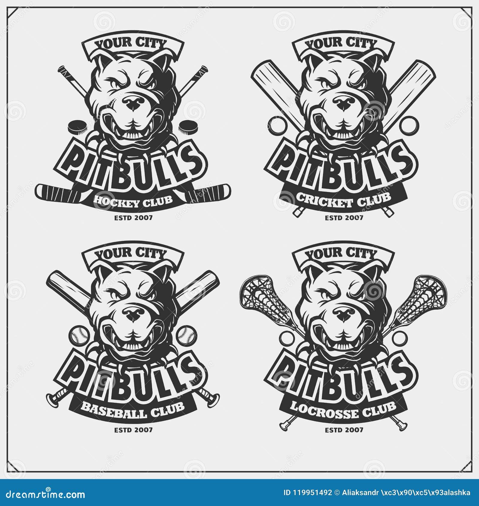Krykiet, baseball, lacrosse, hokej etykietki i logowie, i Sporta klubu emblematy z pitbull