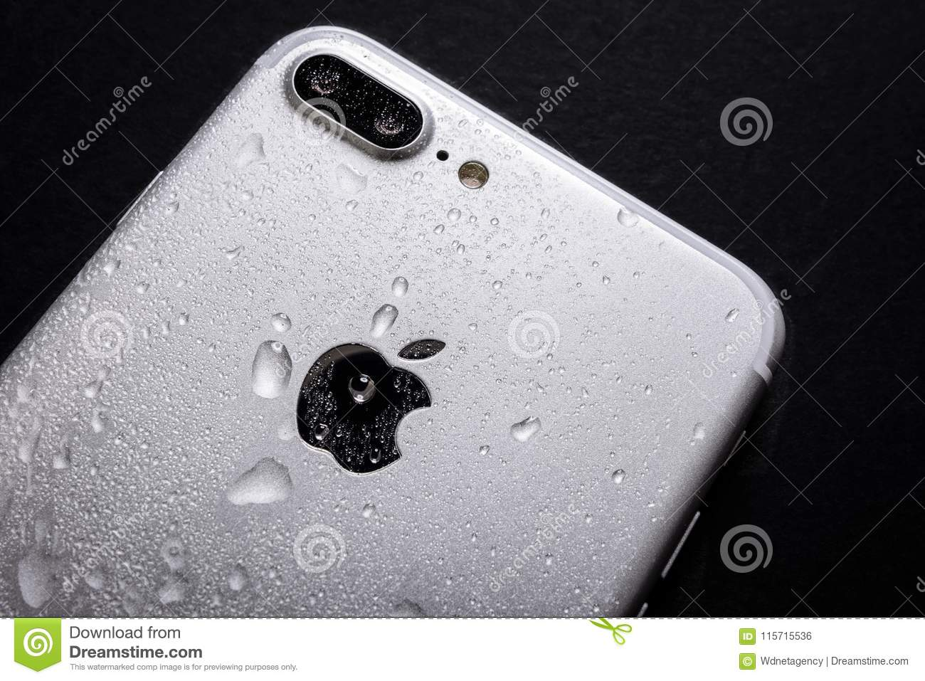 premium selection 9fd61 3b01f Wet iPhone 7 backside editorial photo. Image of communication ...