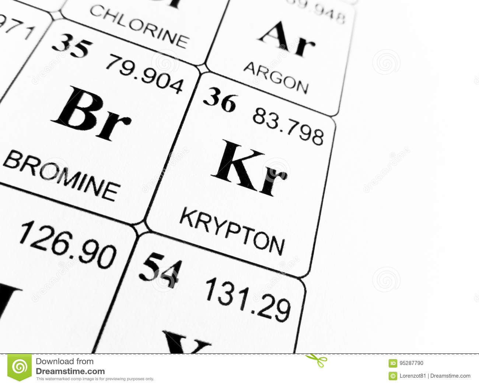 Krypton on the periodic table of the elements stock photo image of royalty free stock photo buycottarizona Choice Image