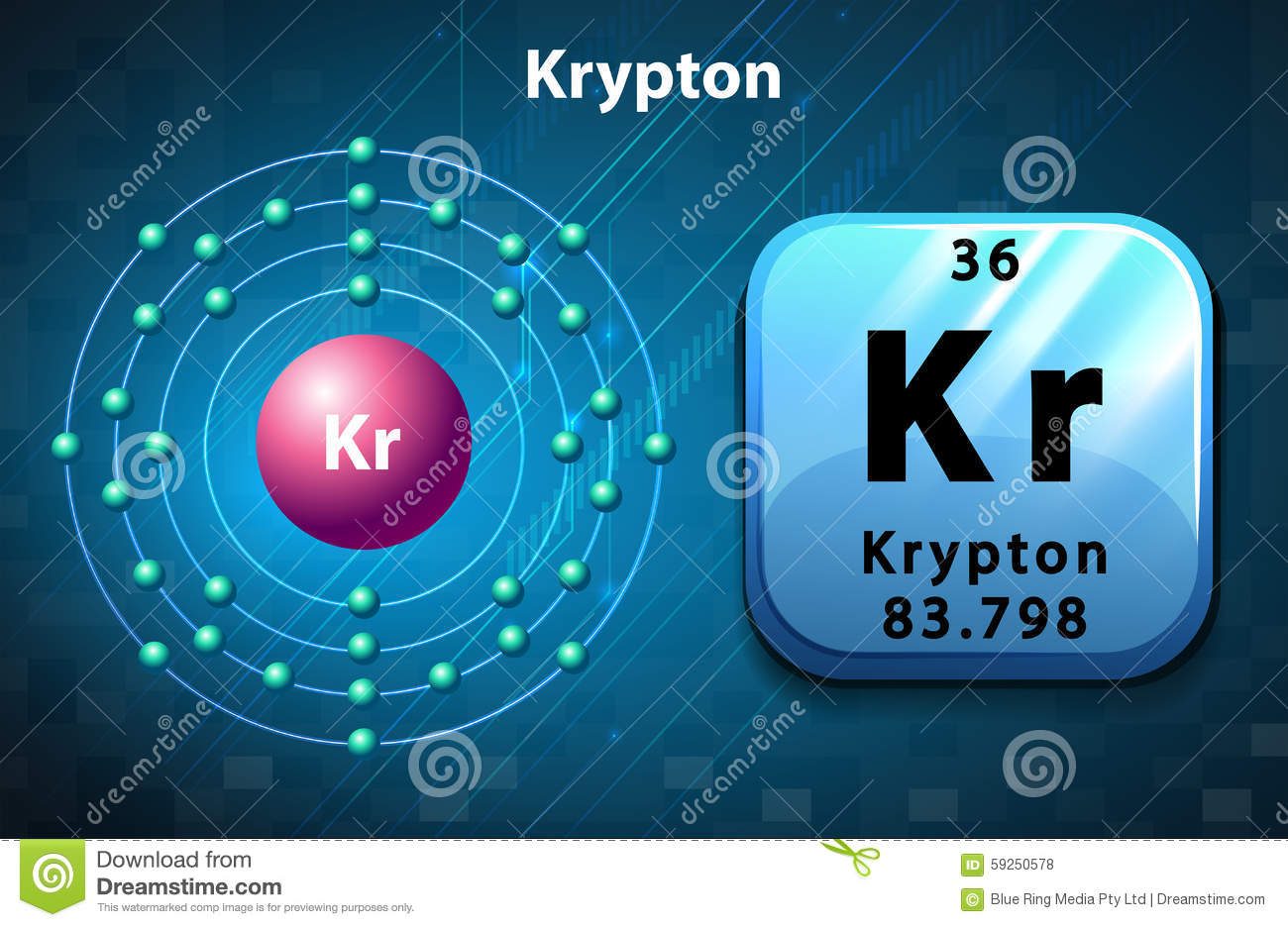 Krypton symbol and electron diagram krypton stock vector krypton symbol and electron diagram krypton buycottarizona