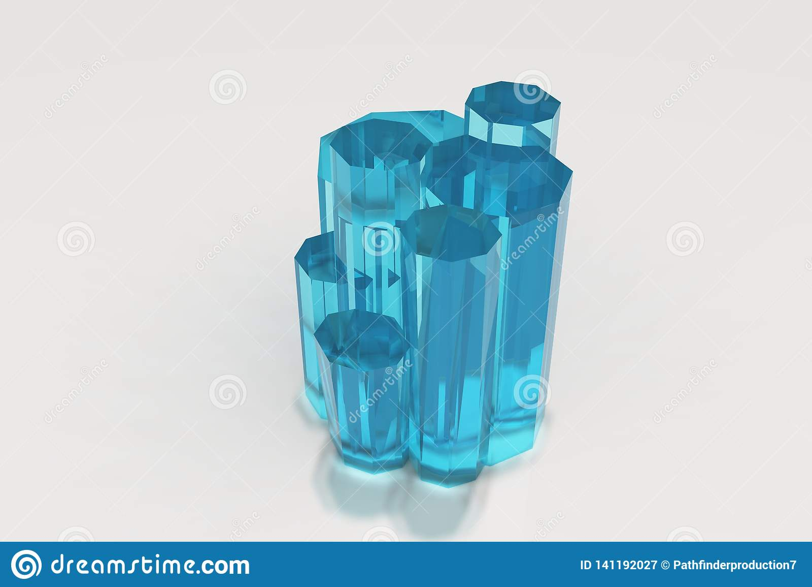 Kryształ barwiony błękitny seledyn na białym tle