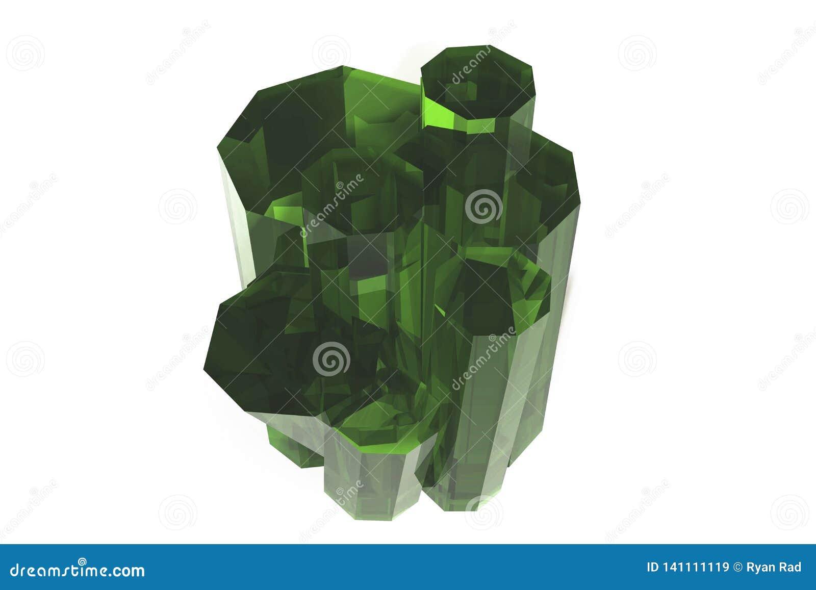 Kryształ barwiona zielona szmaragdowa kwarc na białym tle