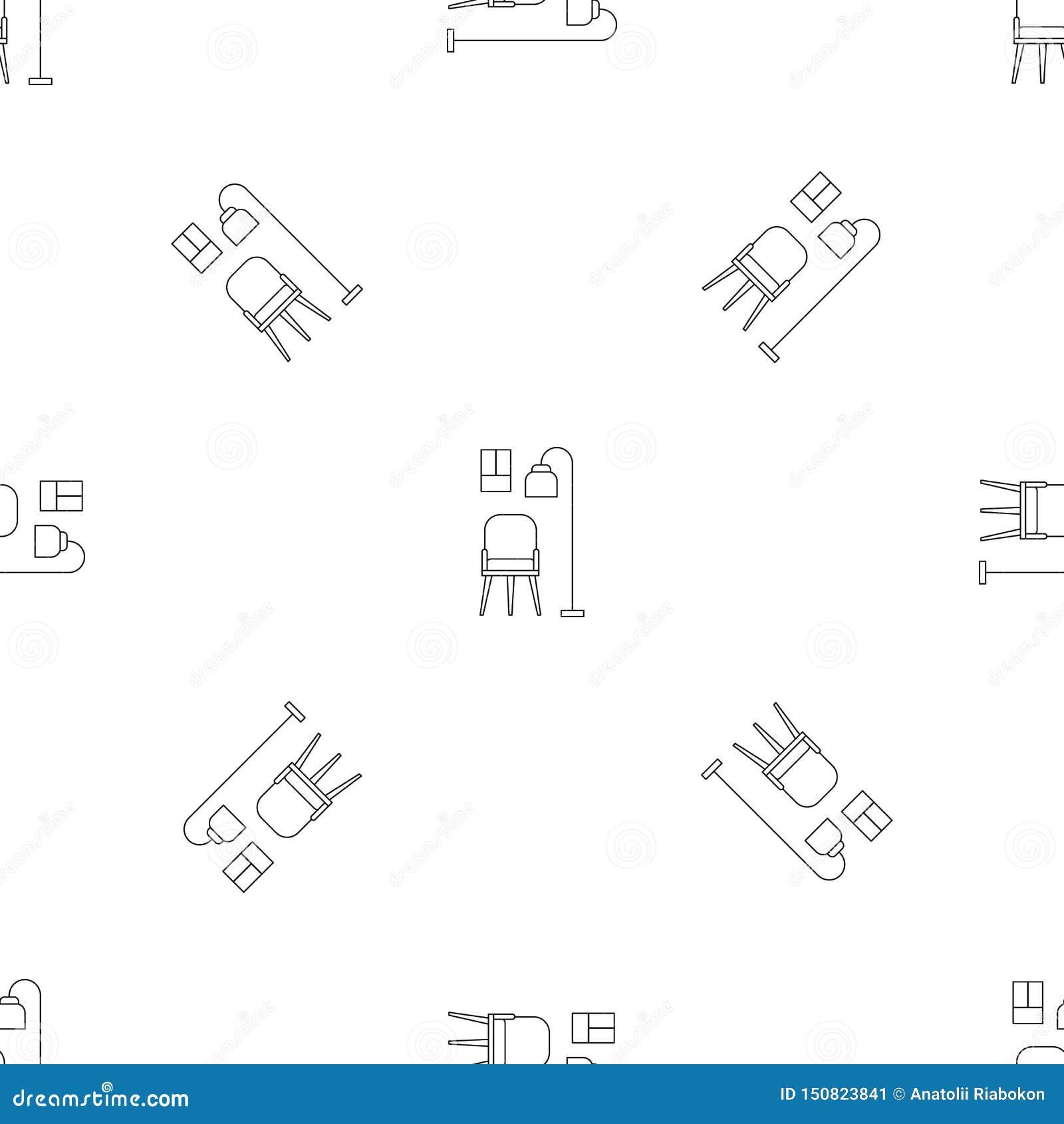 Krzesła i pokój lampy wzoru bezszwowy wektor