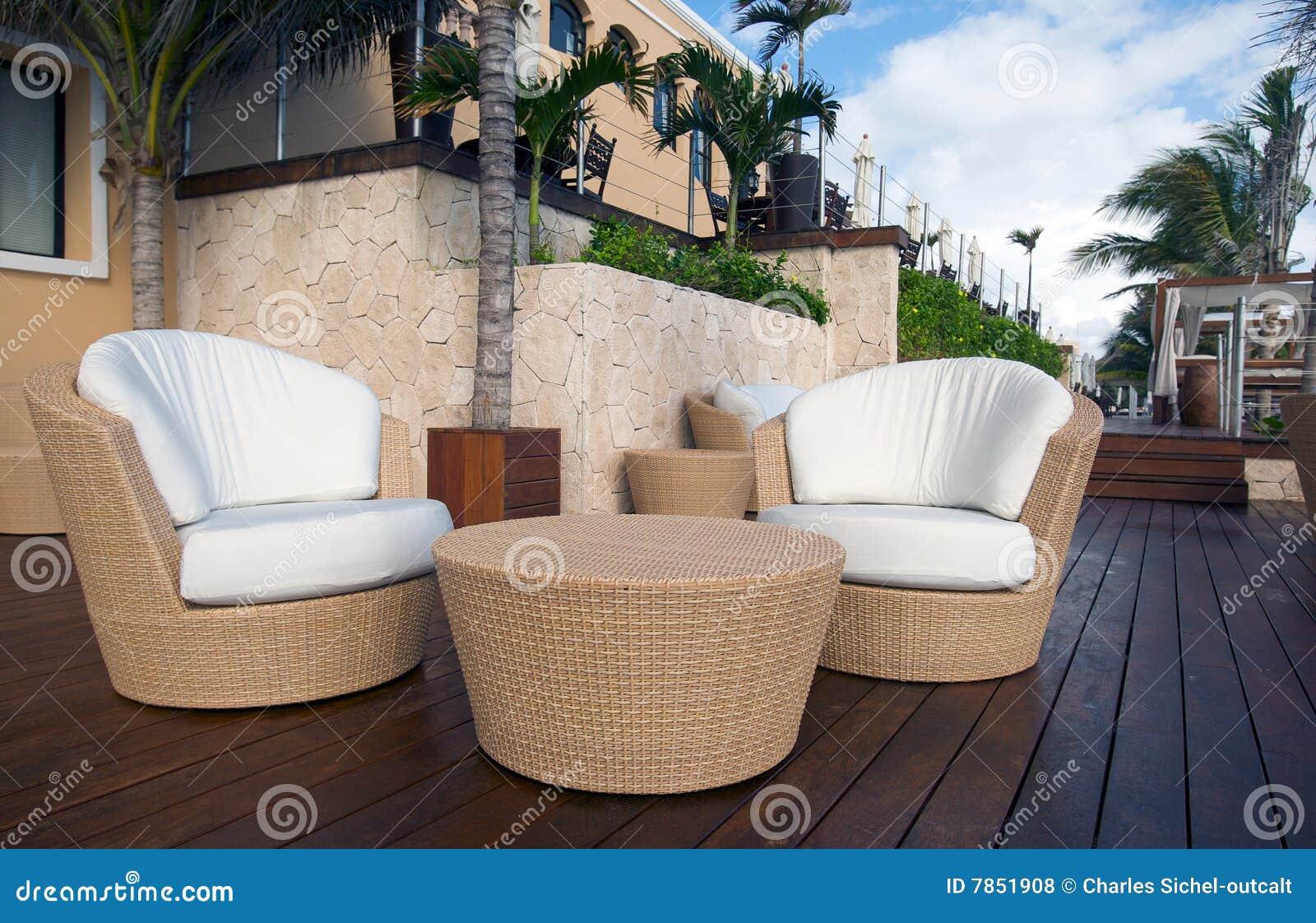 Krzeseł luksusowego kurortu stołu wicker
