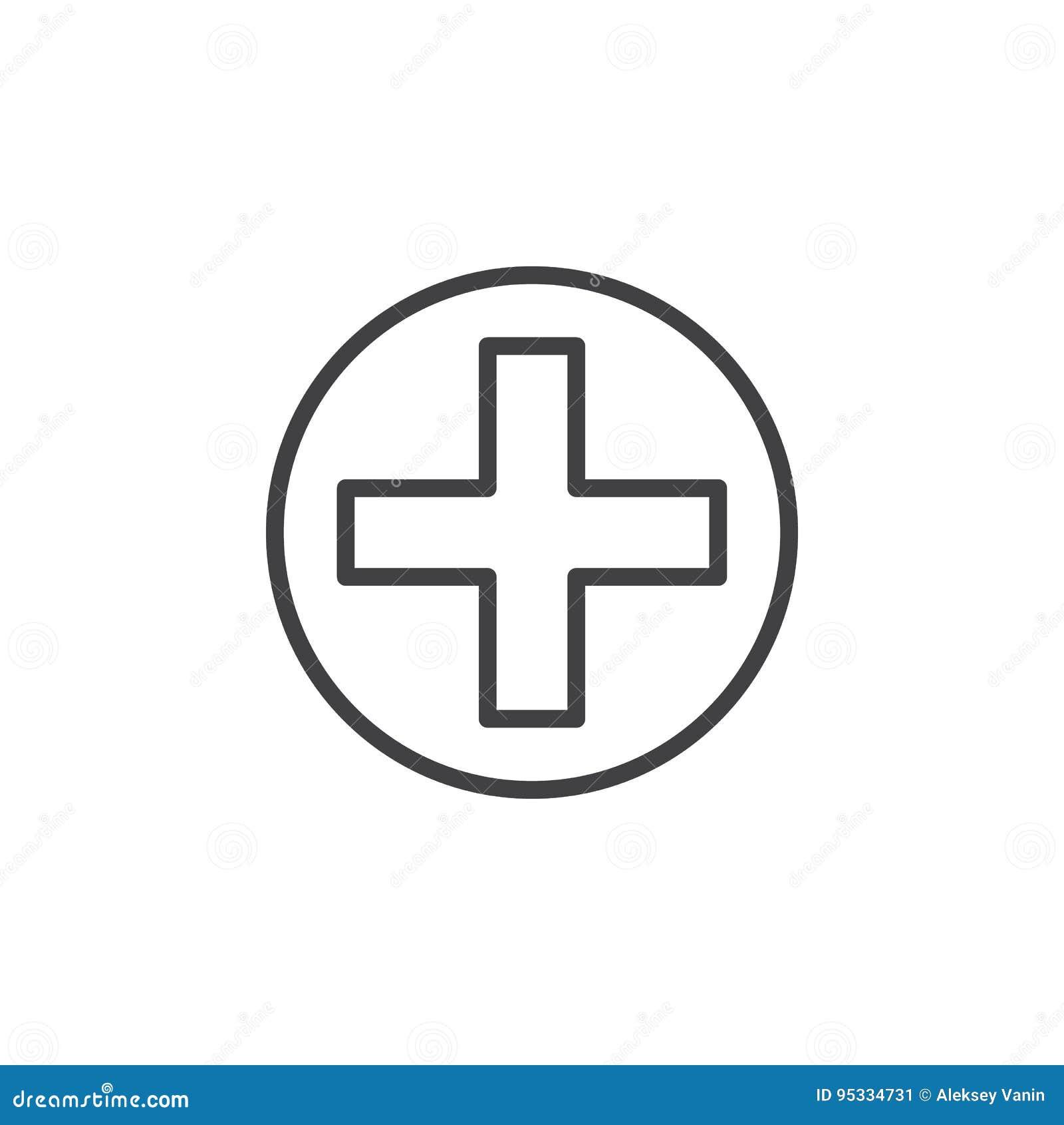 Krzyż w okrąg linii ikonie, konturu wektoru znak, liniowy stylowy piktogram odizolowywający na bielu