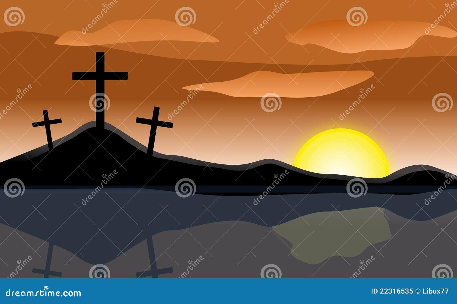 Krzyżuje Easter wschód słońca trzy