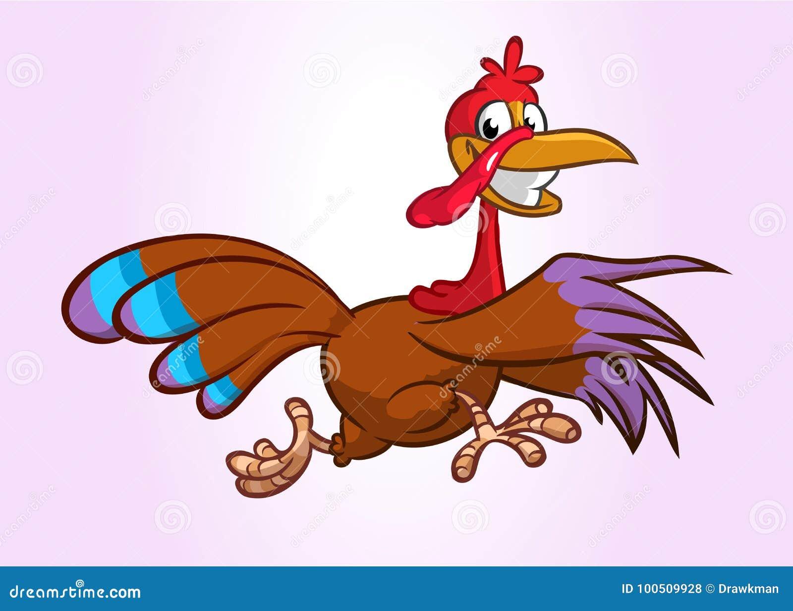 Krzyczącej działającej kreskówki indyczy ptasi charakter również zwrócić corel ilustracji wektora