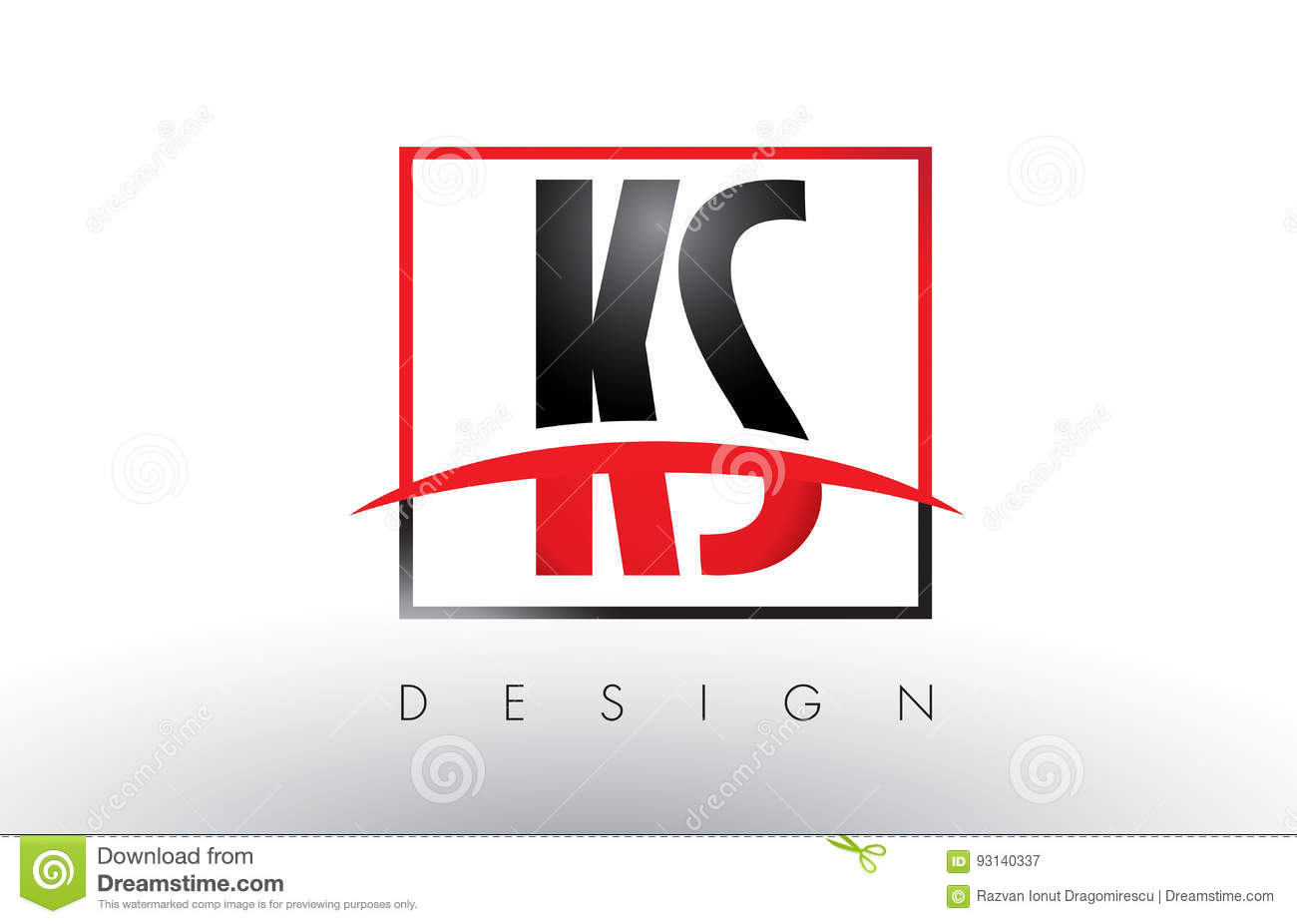 ks k s logo letters with red and black colors and swoosh stock vector image 93140337. Black Bedroom Furniture Sets. Home Design Ideas