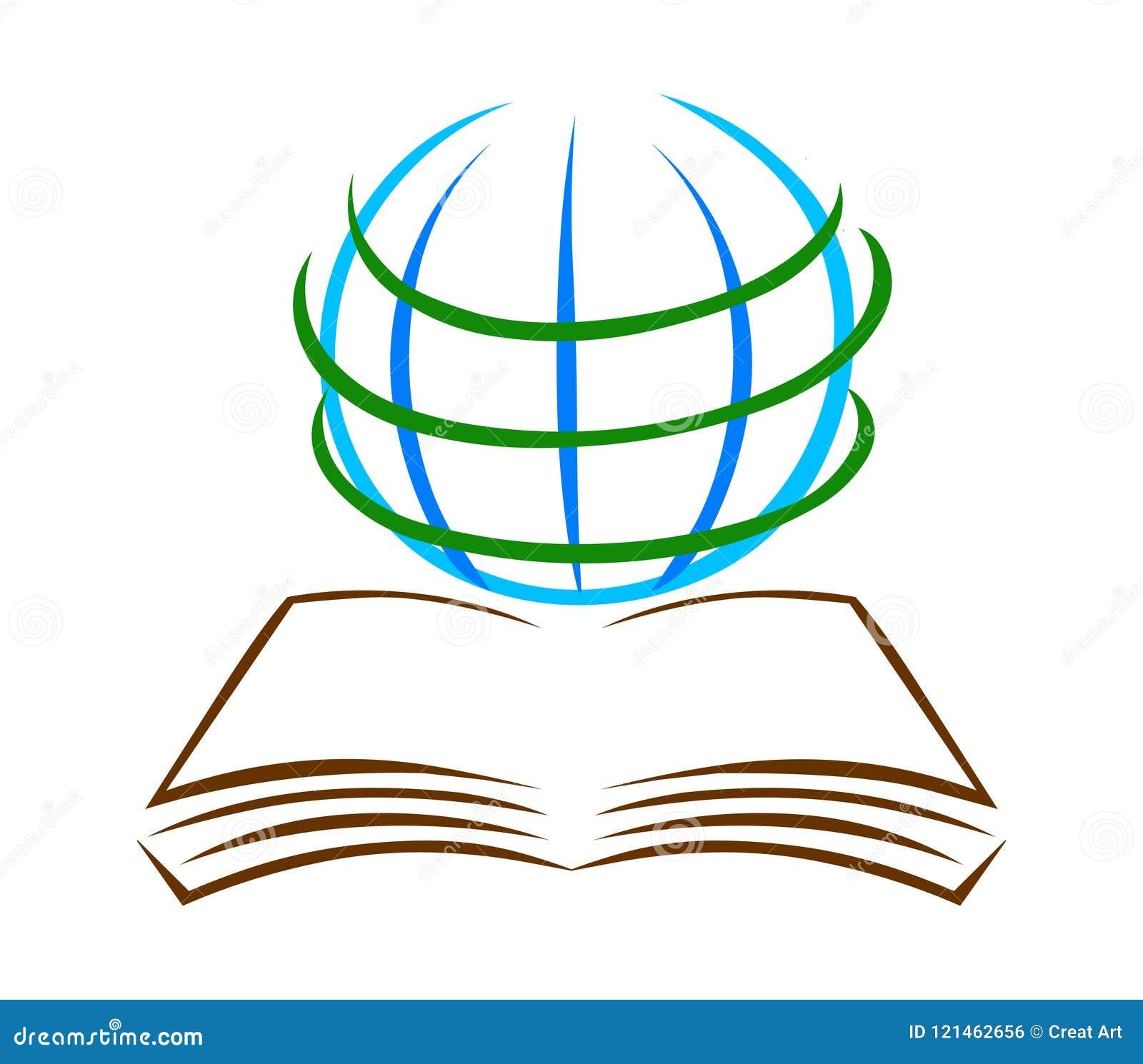 Książki i kuli ziemskiej loga wektor Edukacja logo