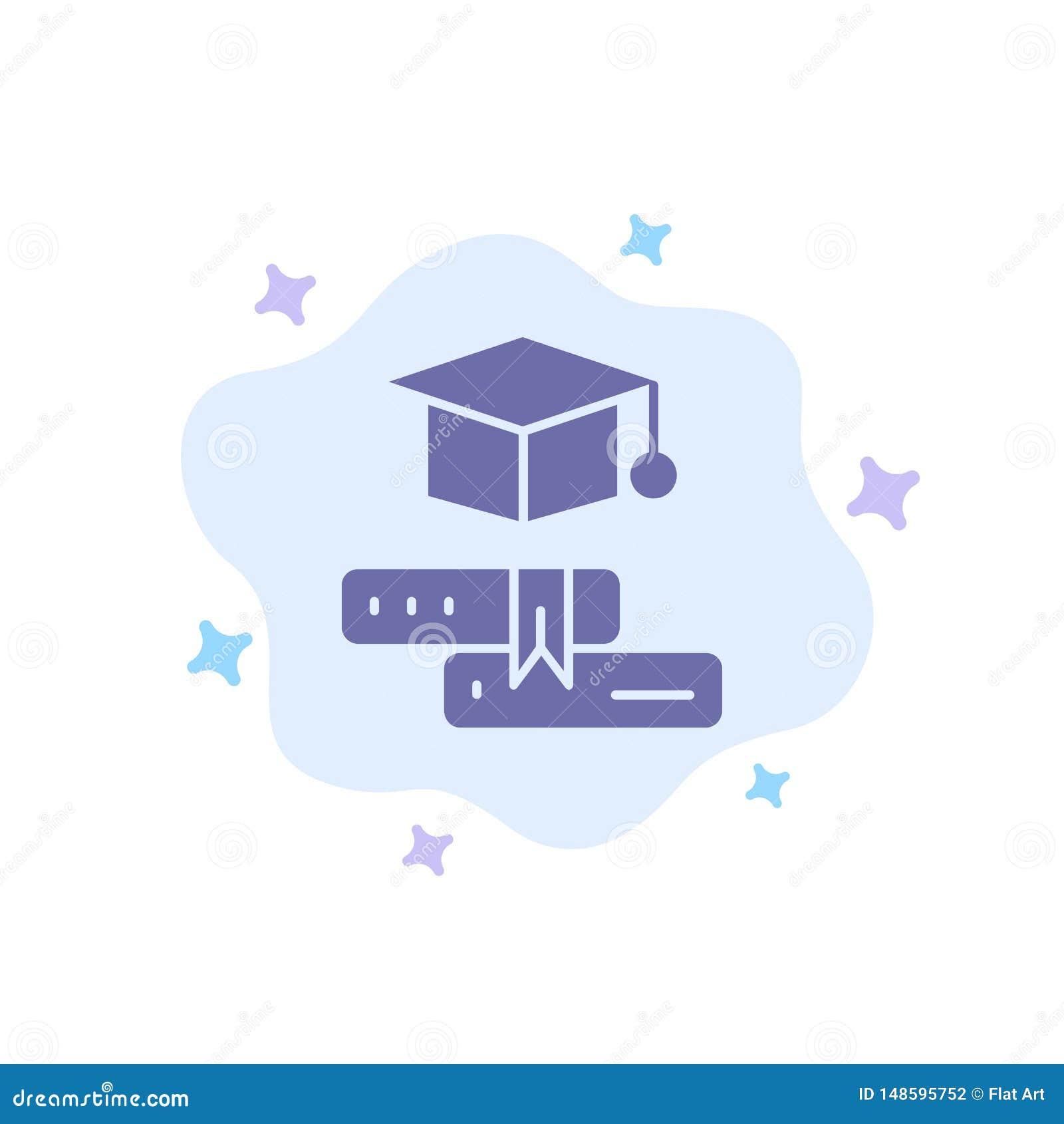 Książki, nakrętka, edukacja, skalowanie Błękitna ikona na abstrakt chmury tle