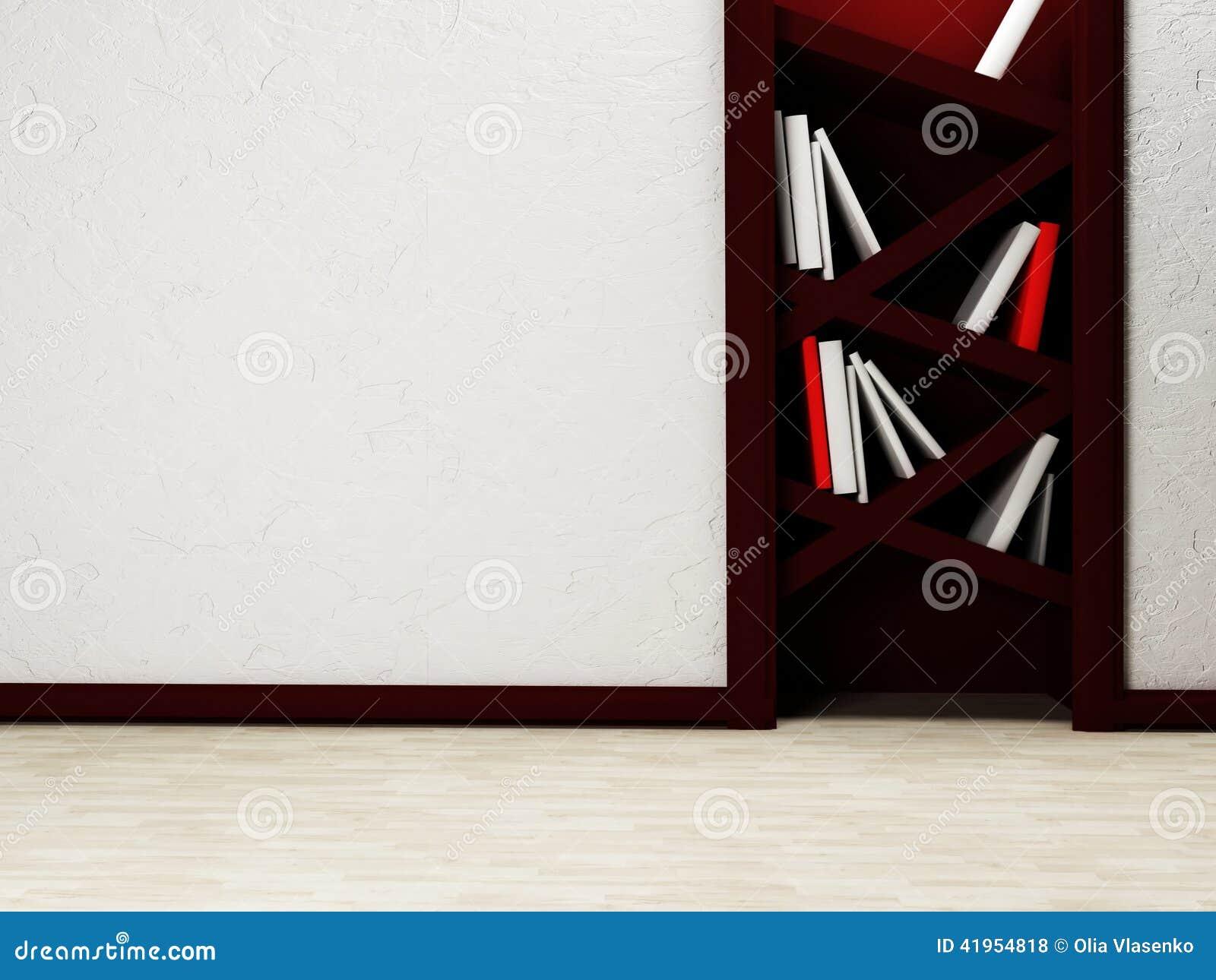 Książki są na koślawych półkach