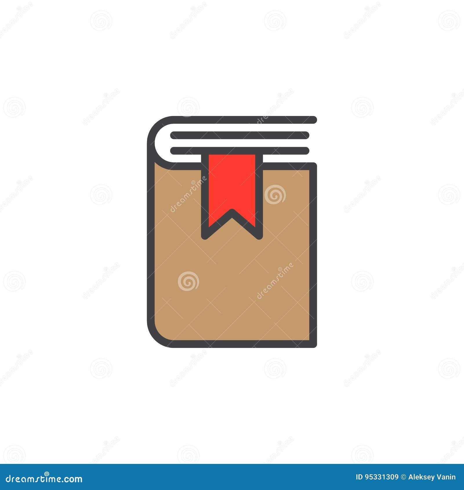 Książkowa bookmark linii ikona, wypełniający konturu wektoru znak, liniowy kolorowy piktogram odizolowywający na bielu