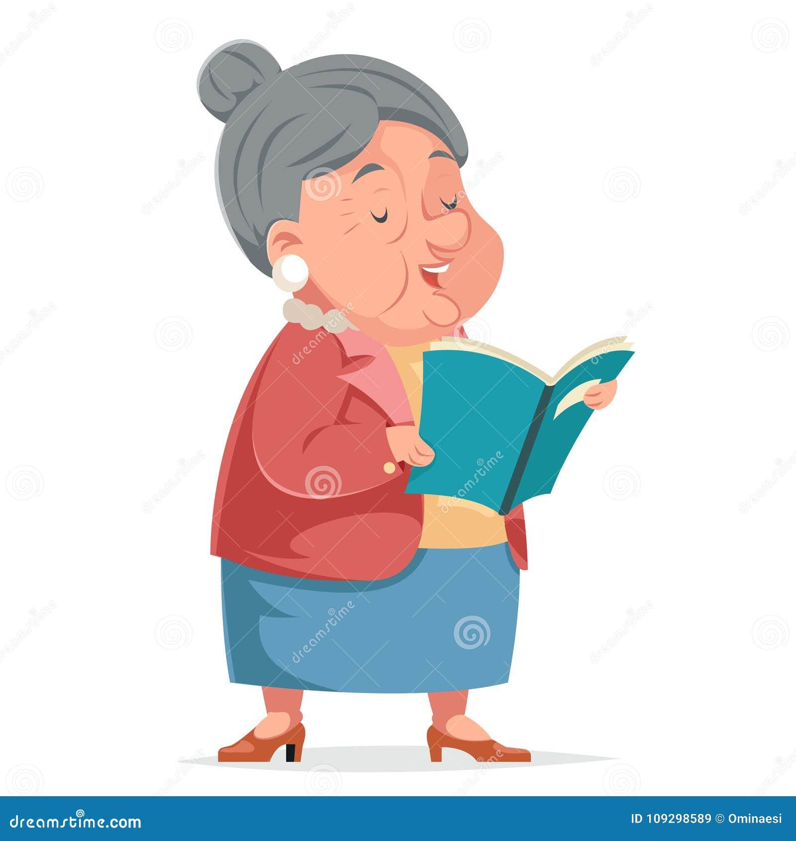 Książkowa Czytelnicza babci starej kobiety babci charakteru dorosłego Icont kreskówki projekta wektoru ilustracja