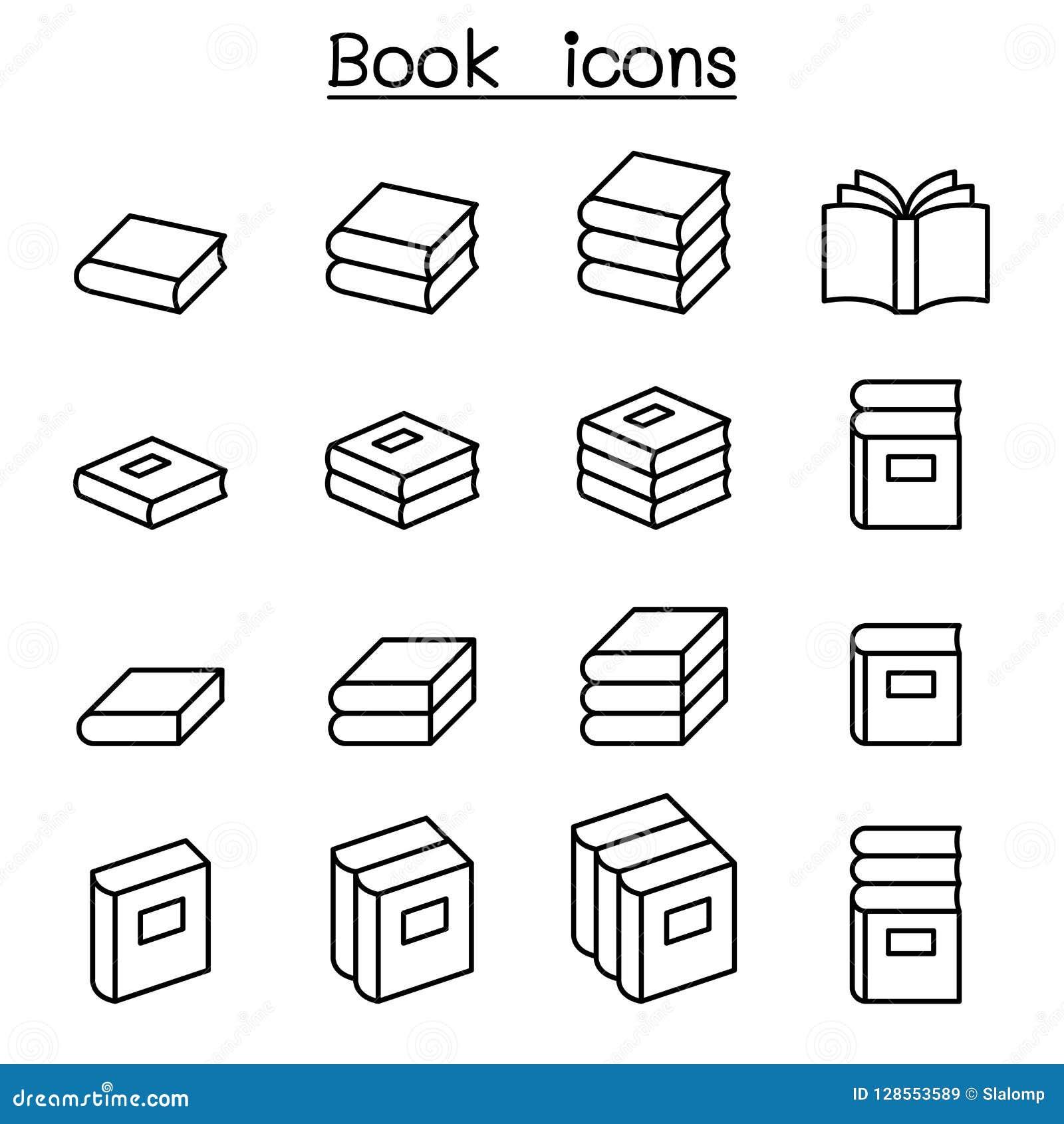 Książkowa ikona ustawiająca w cienkim kreskowym stylu