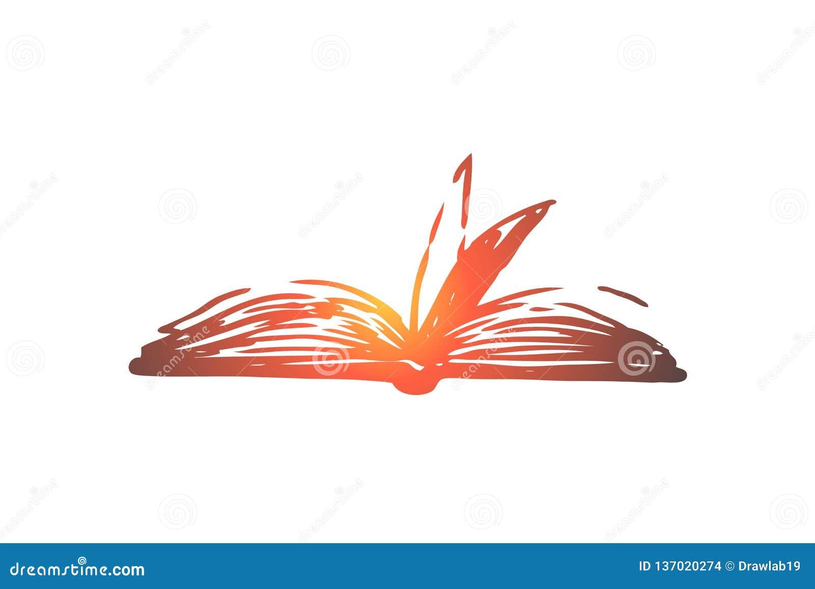 Książkowy, otwarty, papierowy, literatura, wiedzy pojęcie Ręka rysujący odosobniony wektor